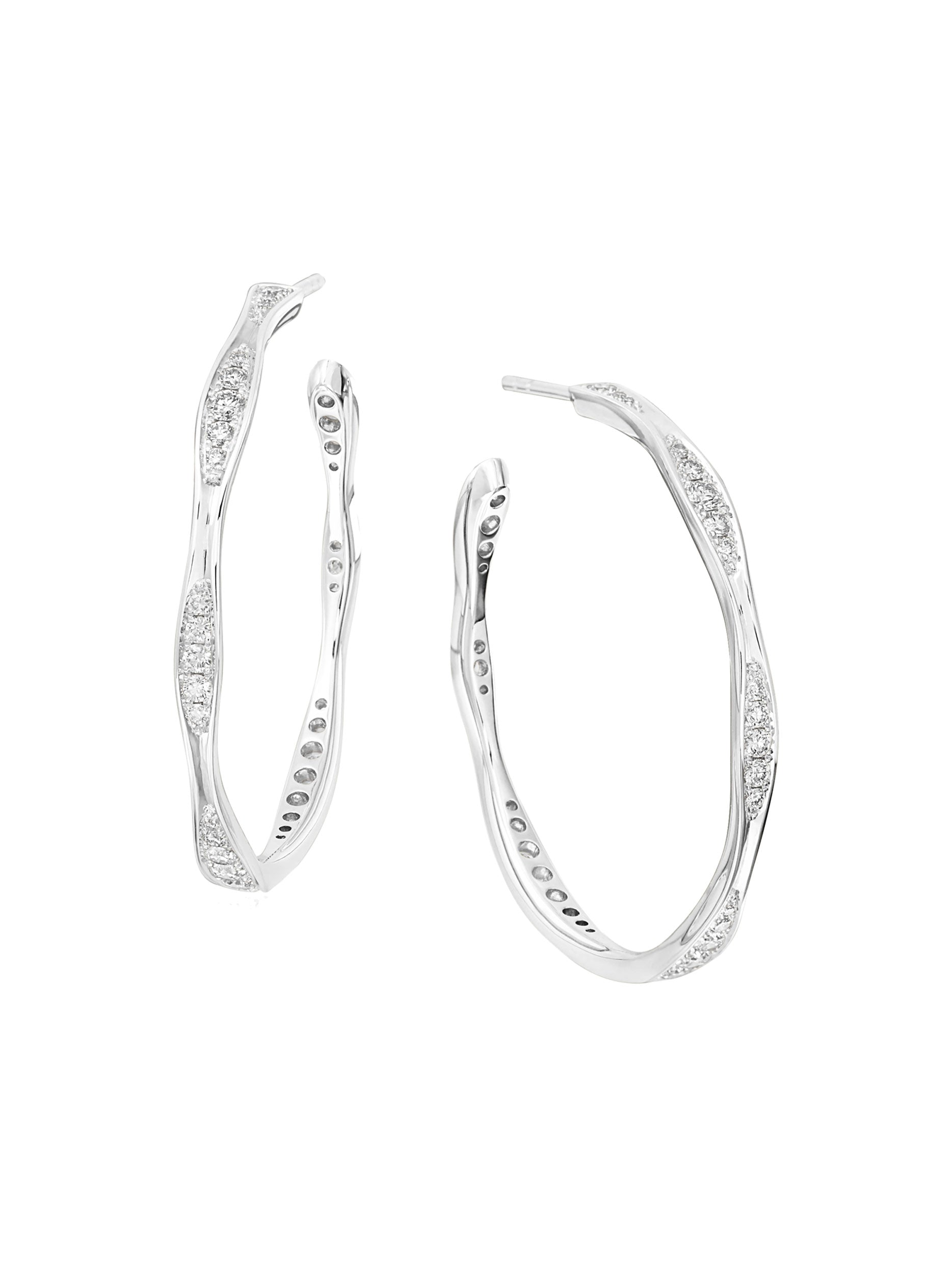 Large White Gold Wave Diamond Hoops