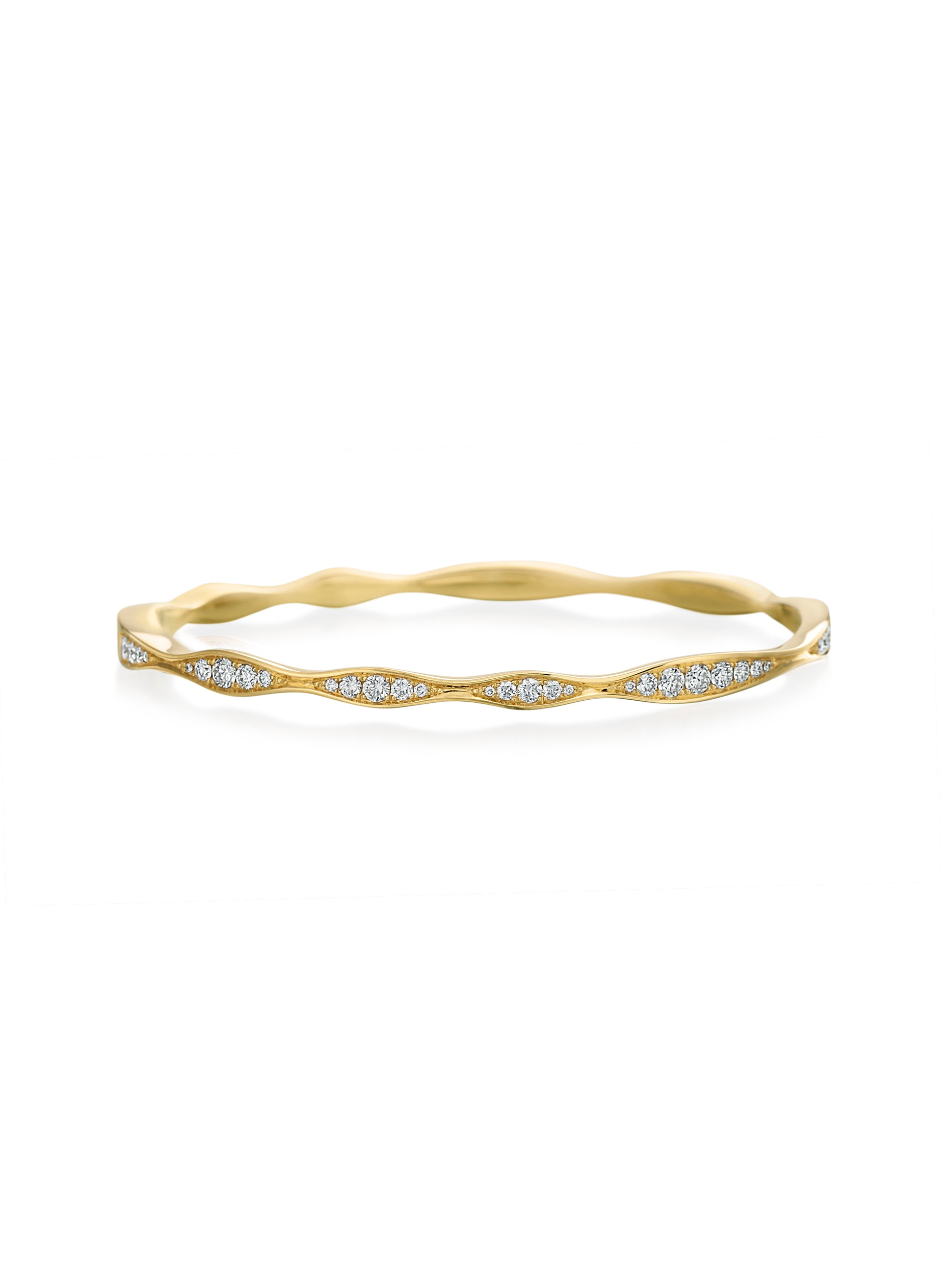 Waves Half-Way Diamond Bangle