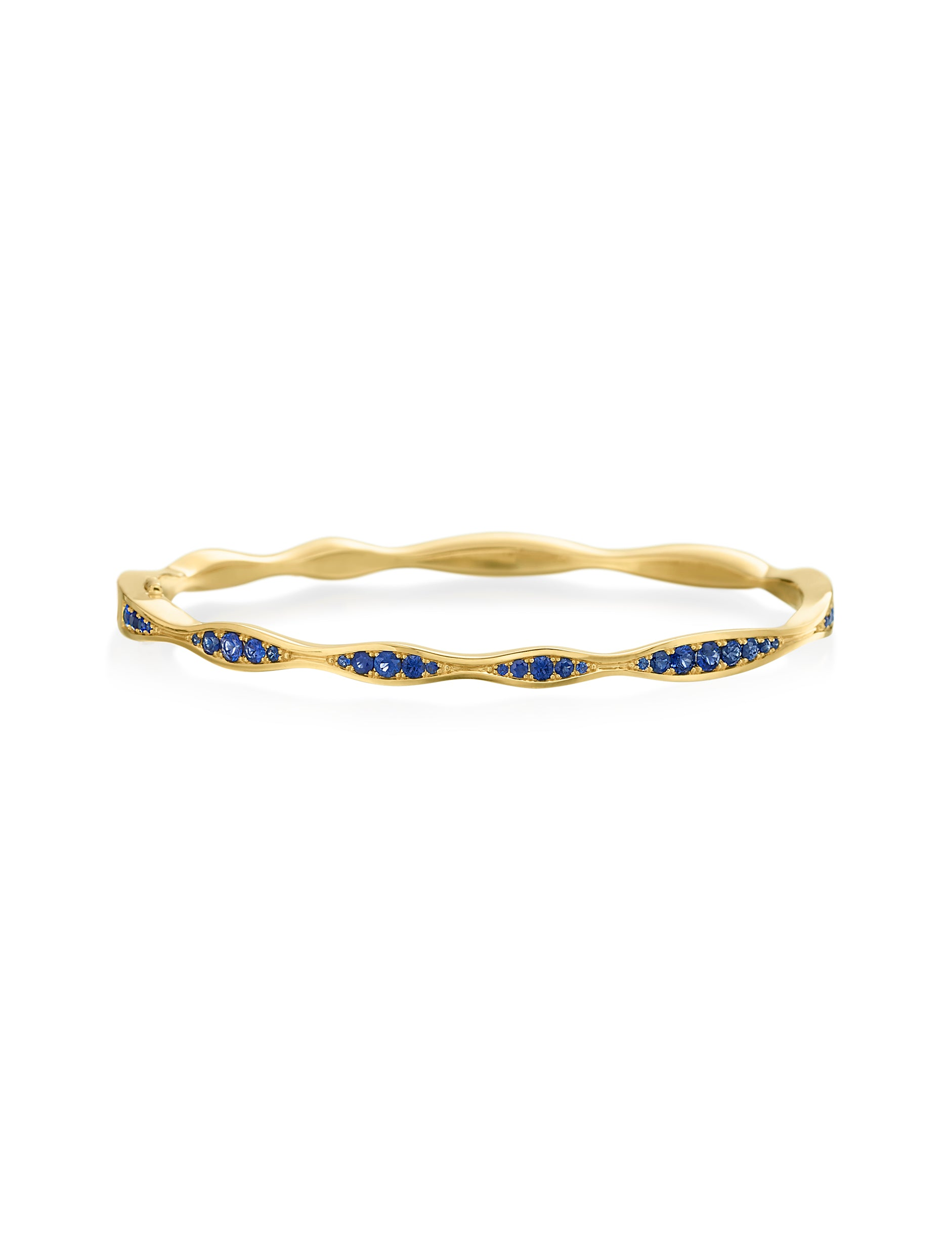 Ocean Blue Sapphire Half-Way Wave Bangle
