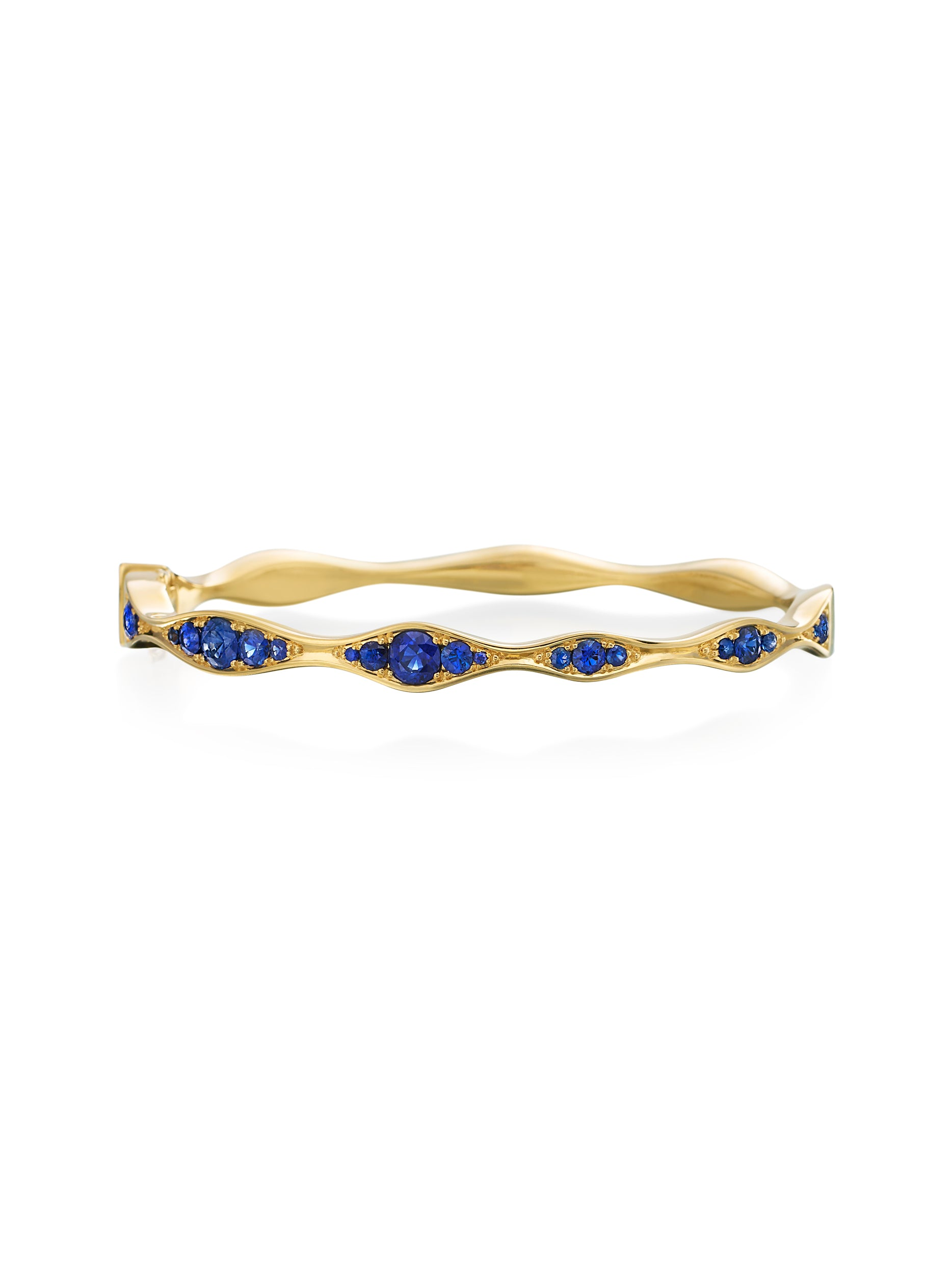 Wide midnight Blue Half-Way Wave Bangle