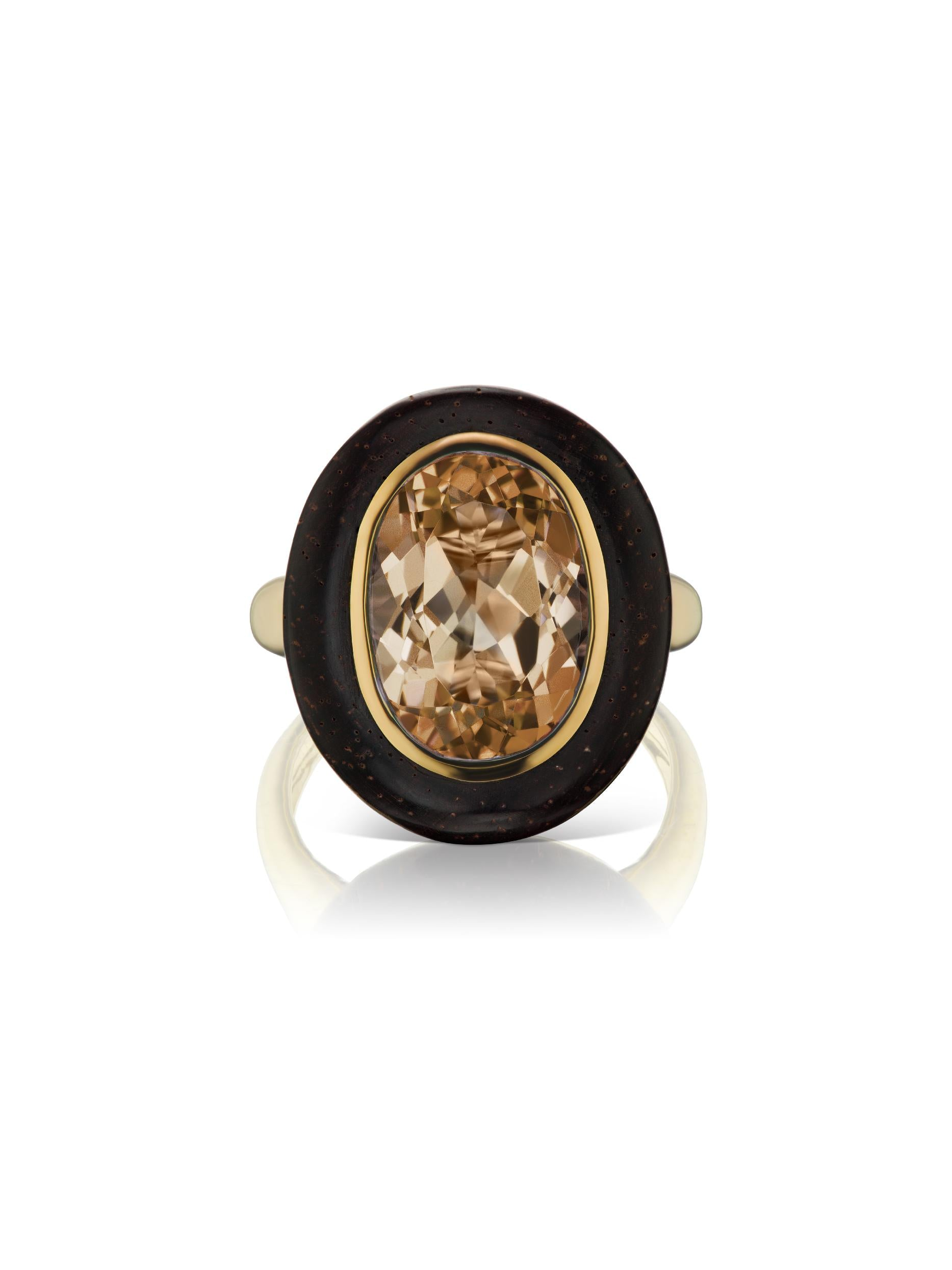 Voyager North-South Oval Smokey Topaz Wood Ring