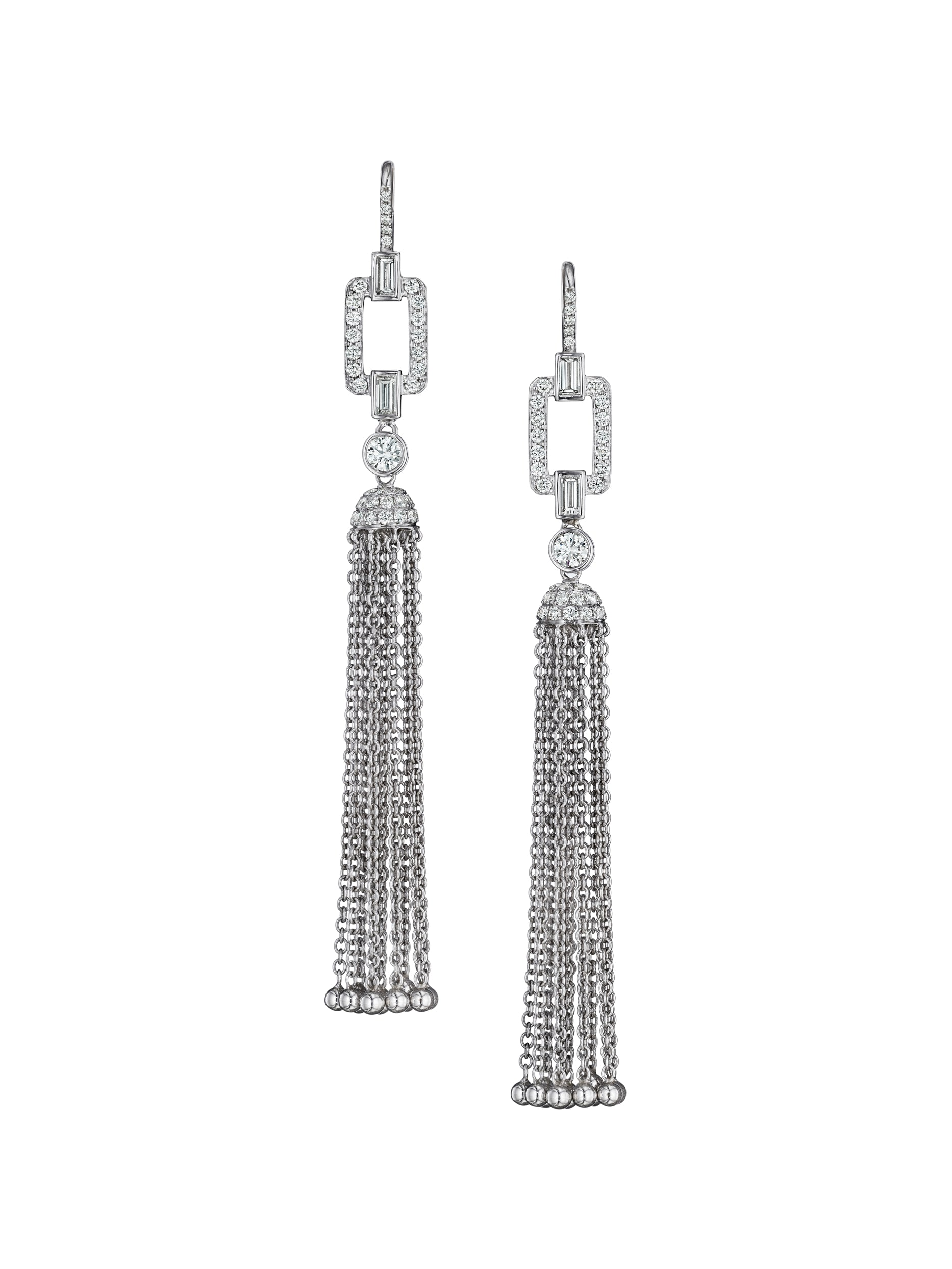 - Deco Diamond Tassel Earrings with Baguettes -