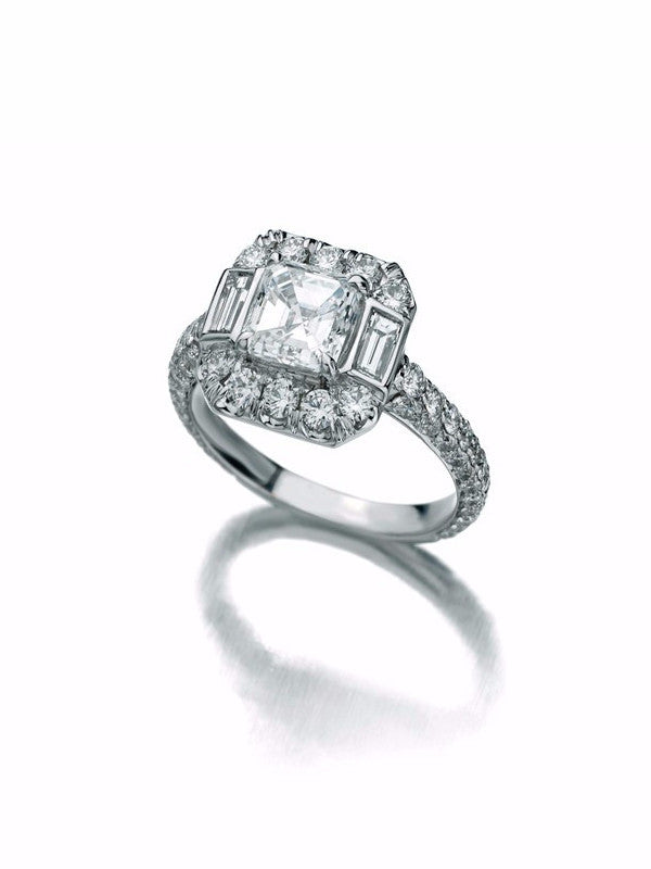 Deco style engagement ring with Asscher cut diamond