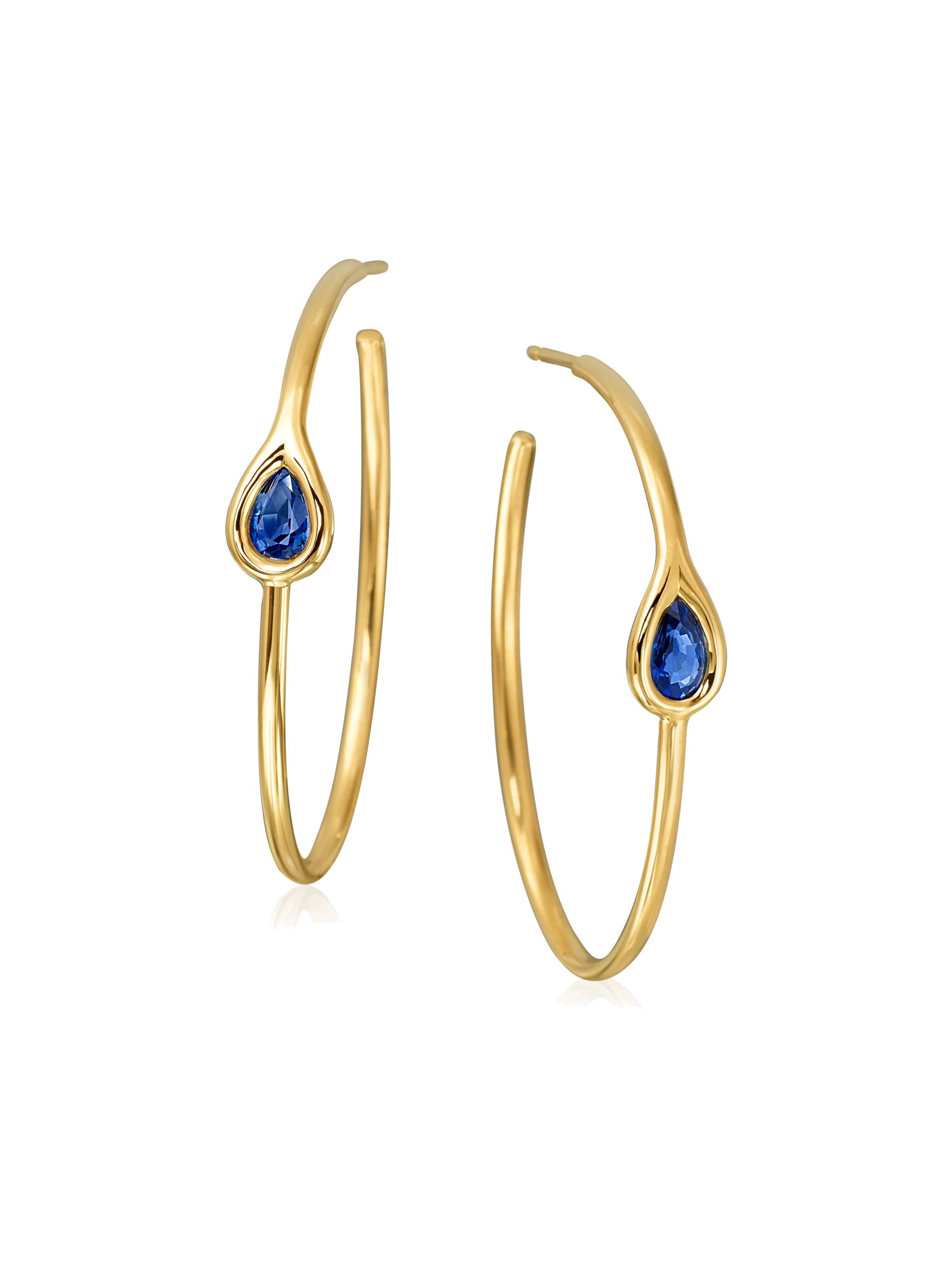 Drop Sapphire Hoop Earrings
