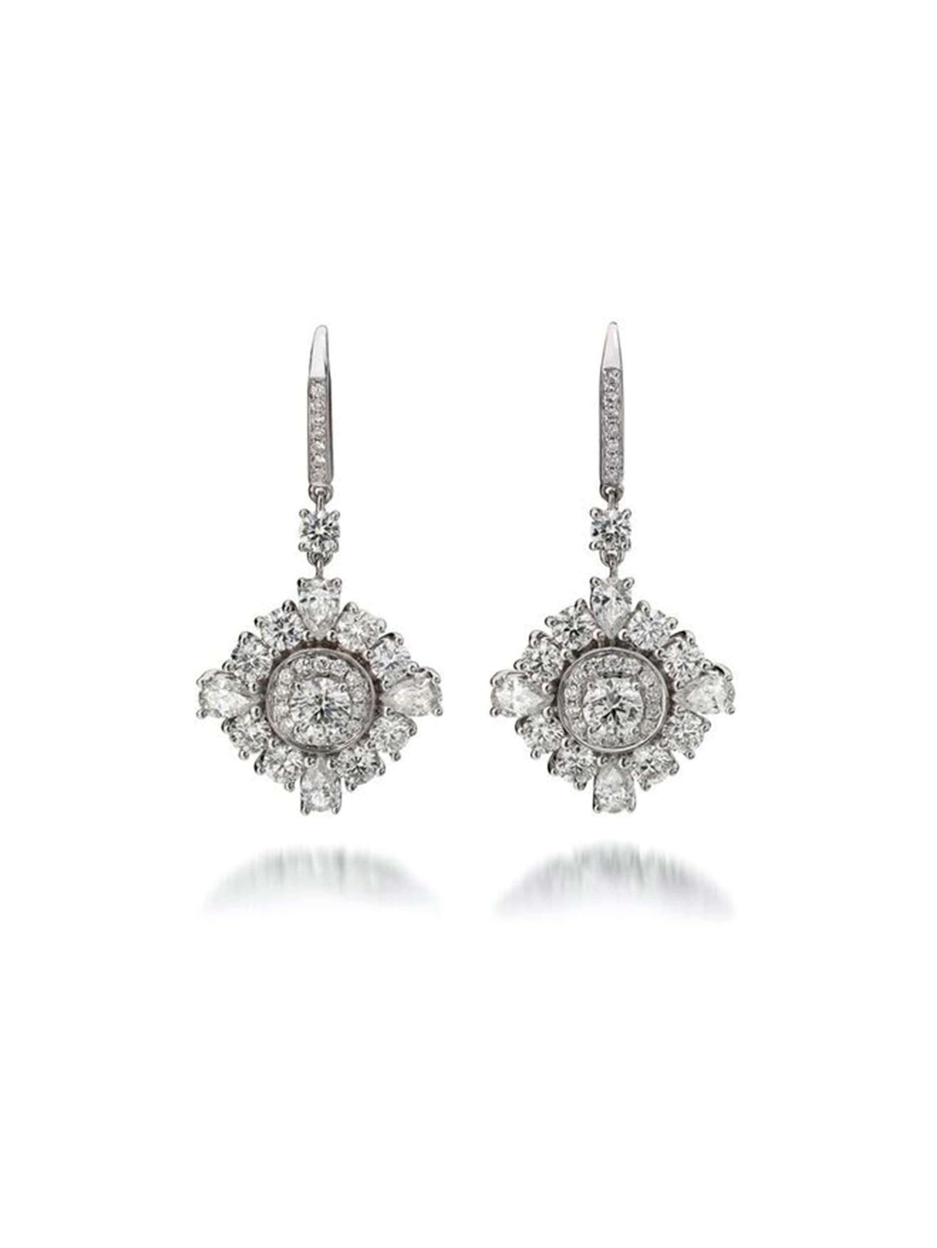 Princess Star Drop Diamond Earrings
