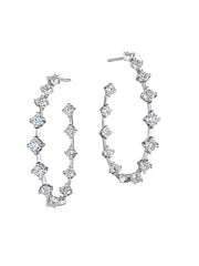 Oval Silhouette Diamond Wire Hoops 1.5""