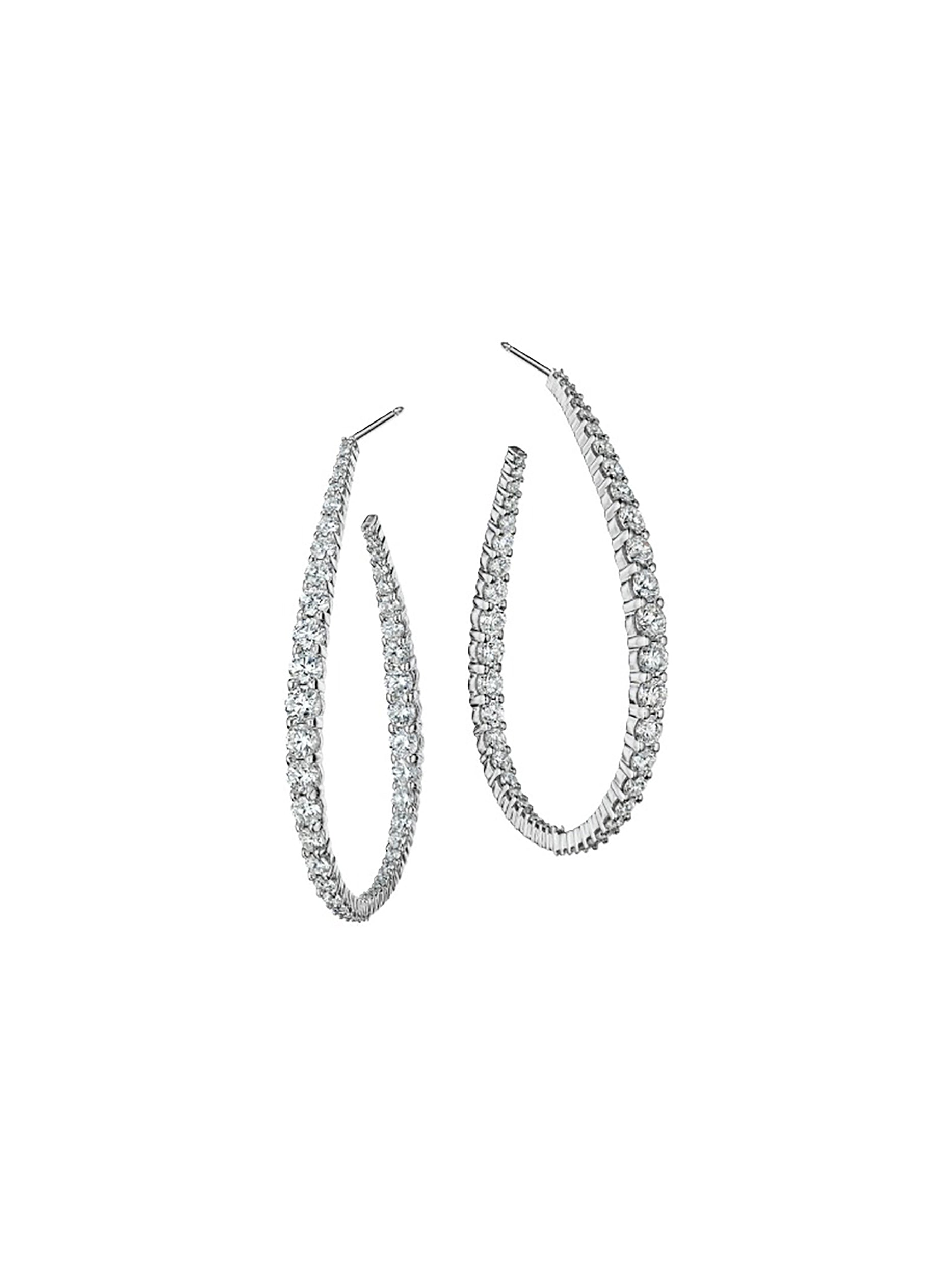 Graduated Water Drop Shaped Diamond Hoops 2""