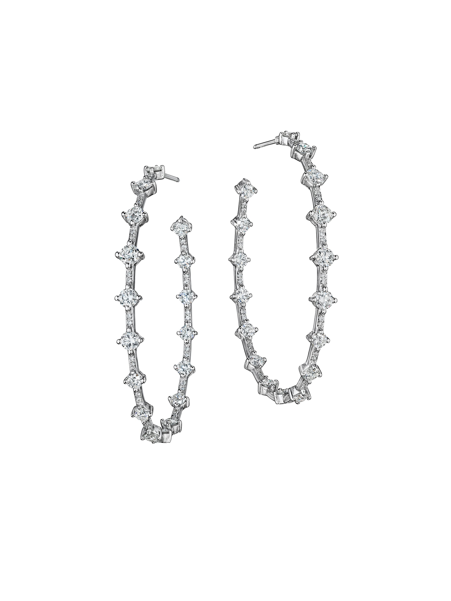 Micropave Pulse Hoop Earrings 1.5""