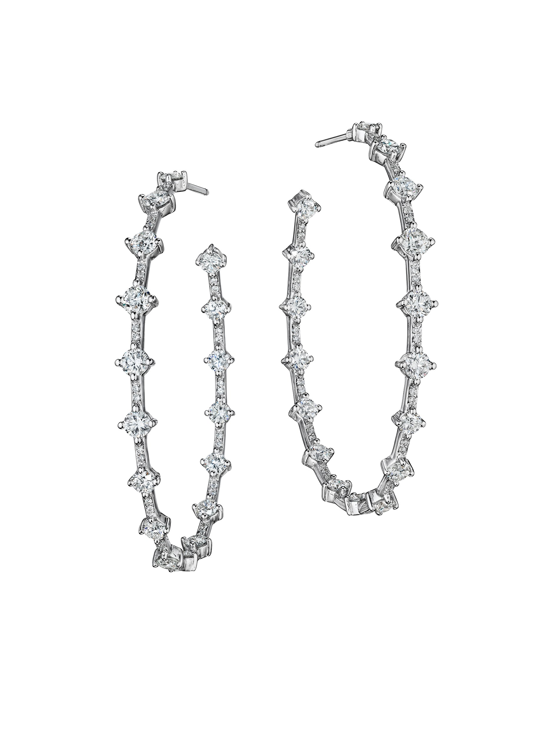 Micropave Pulse Hoop Earrings 2""