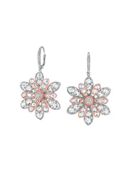 Double Blossom Aster Earrings in Rose and White Gold