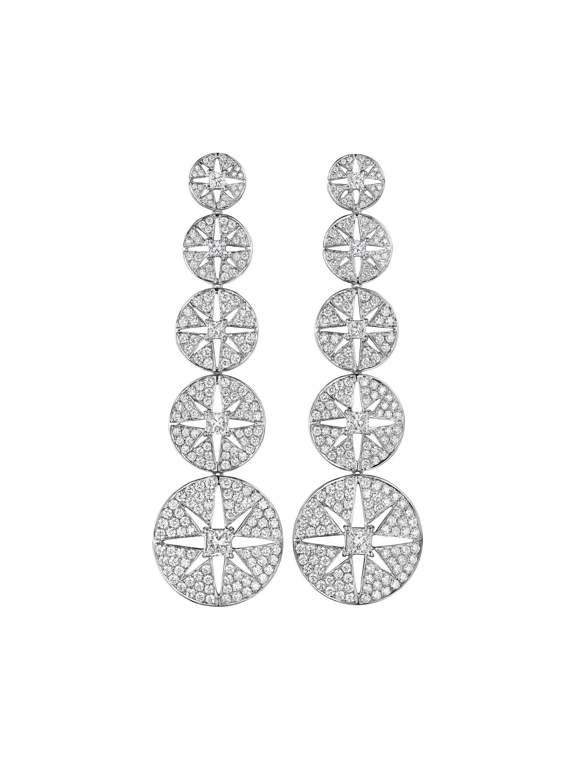 Starburst Diamond Drop Earrings