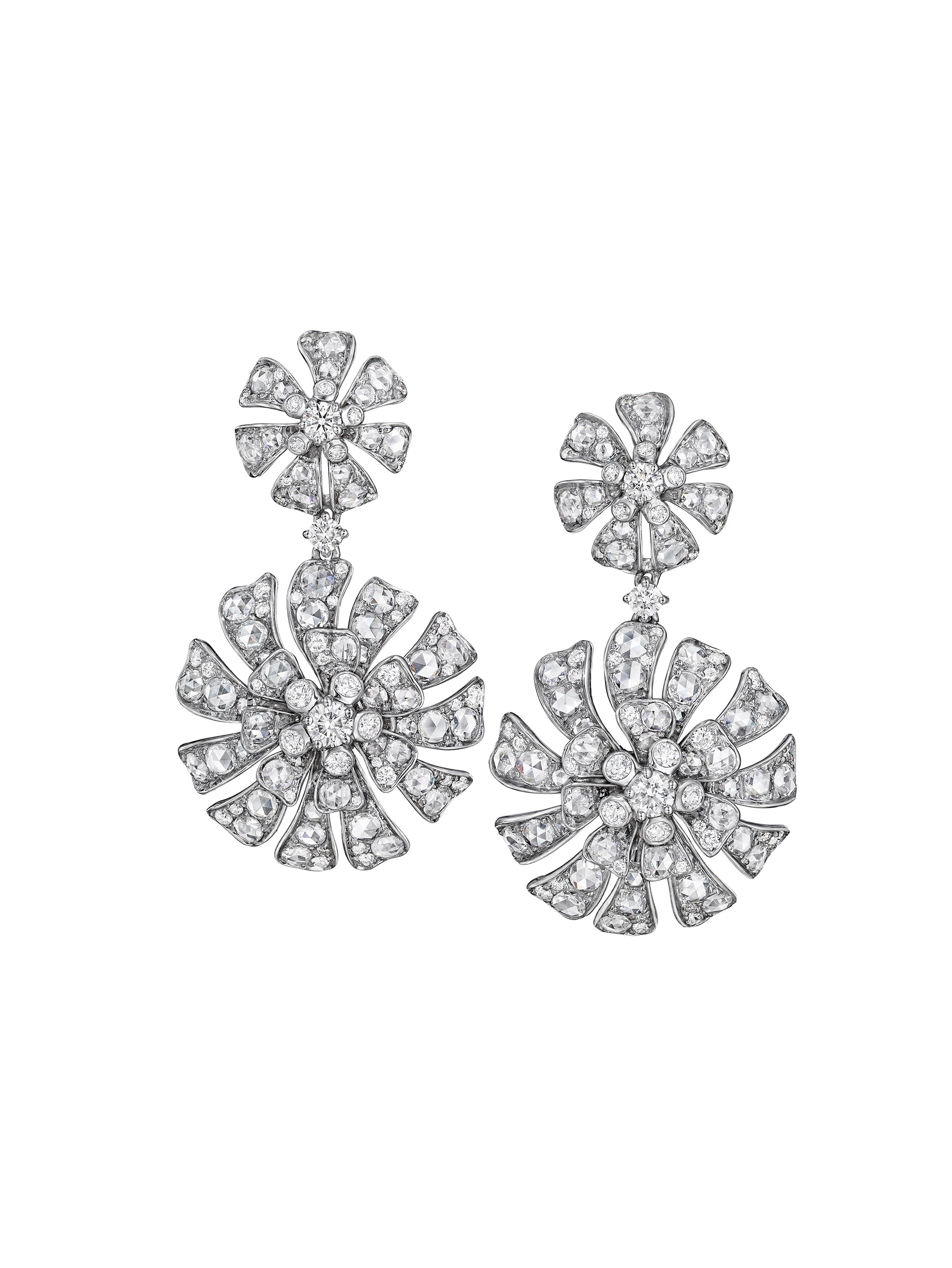 - Aster Double Blossom Drop Earrings -