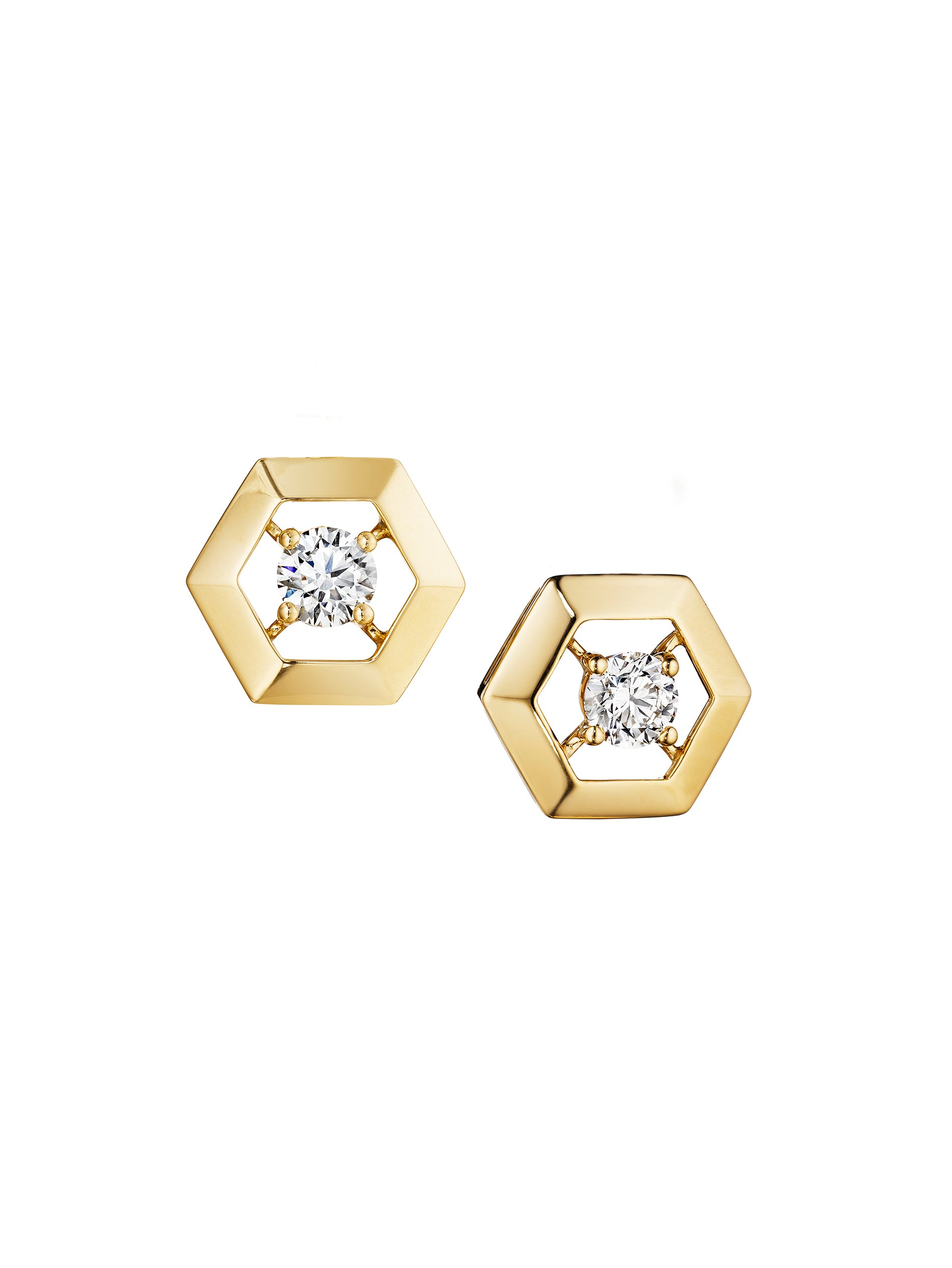 hexagongoldearrings gold hanging earrings wolpe hexagon neta
