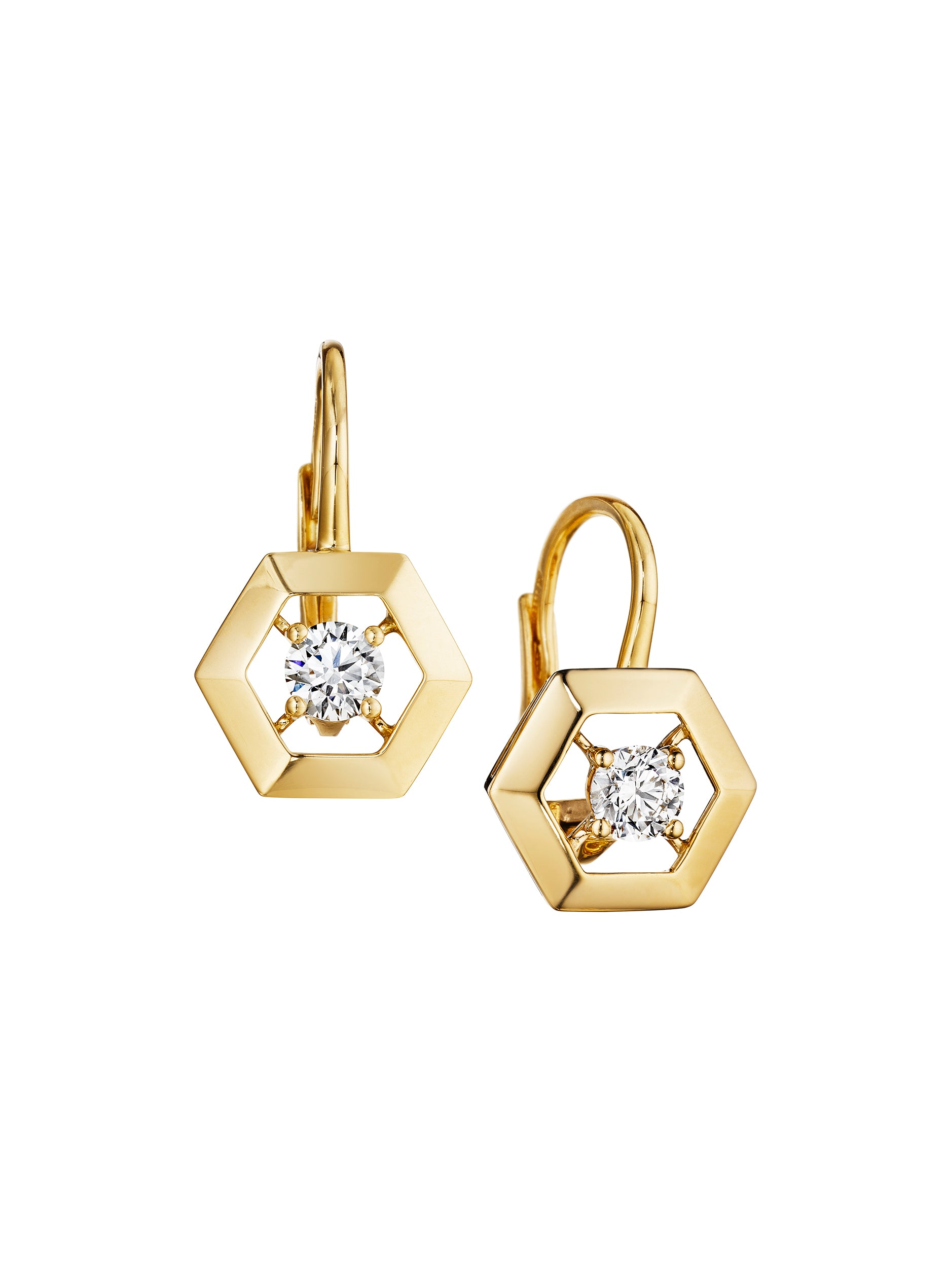 gold hanging neta earrings hexagongoldearrings hexagon wolpe