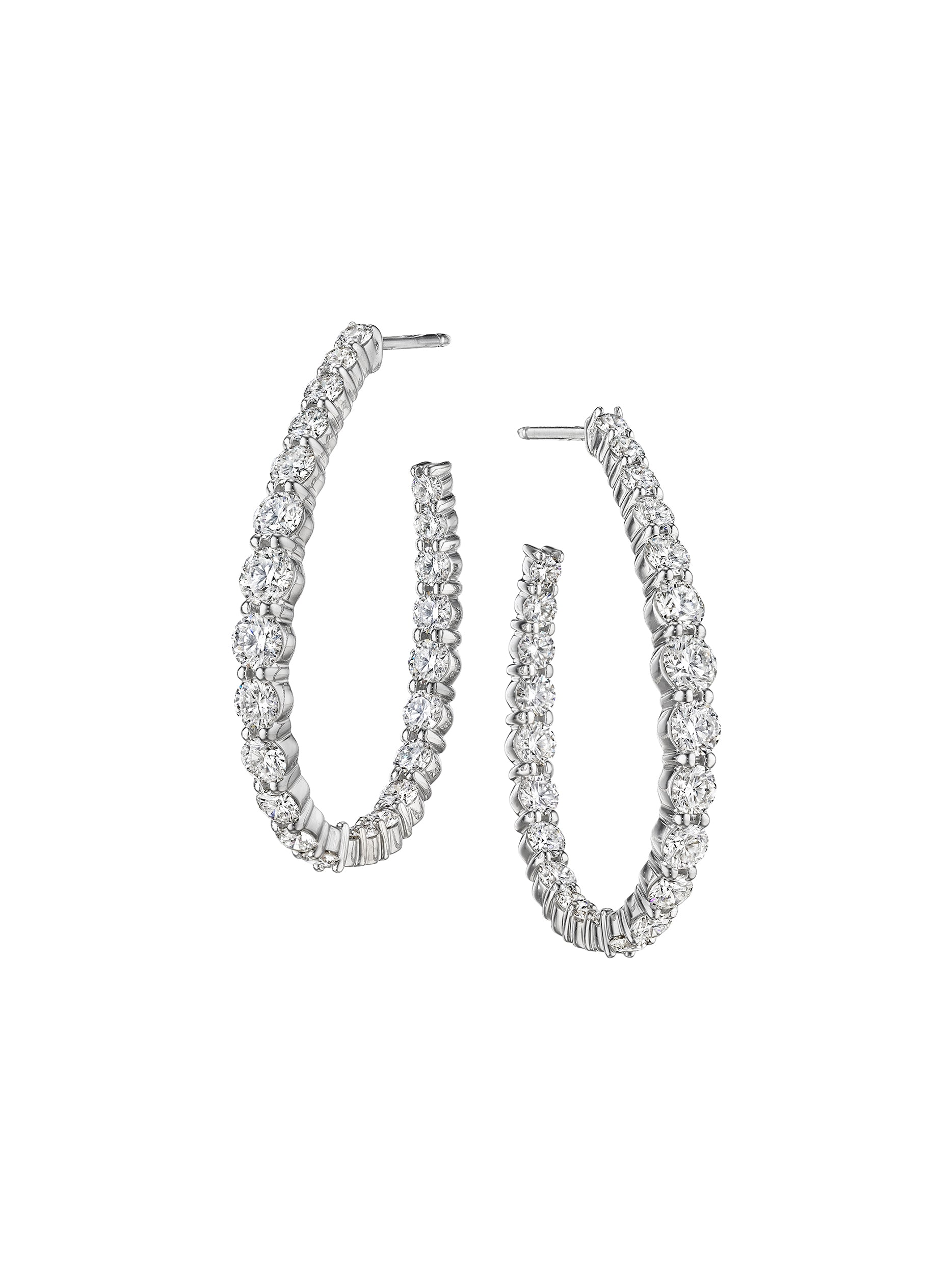 Signature Pear Shape Diamond Hoops 1.5""