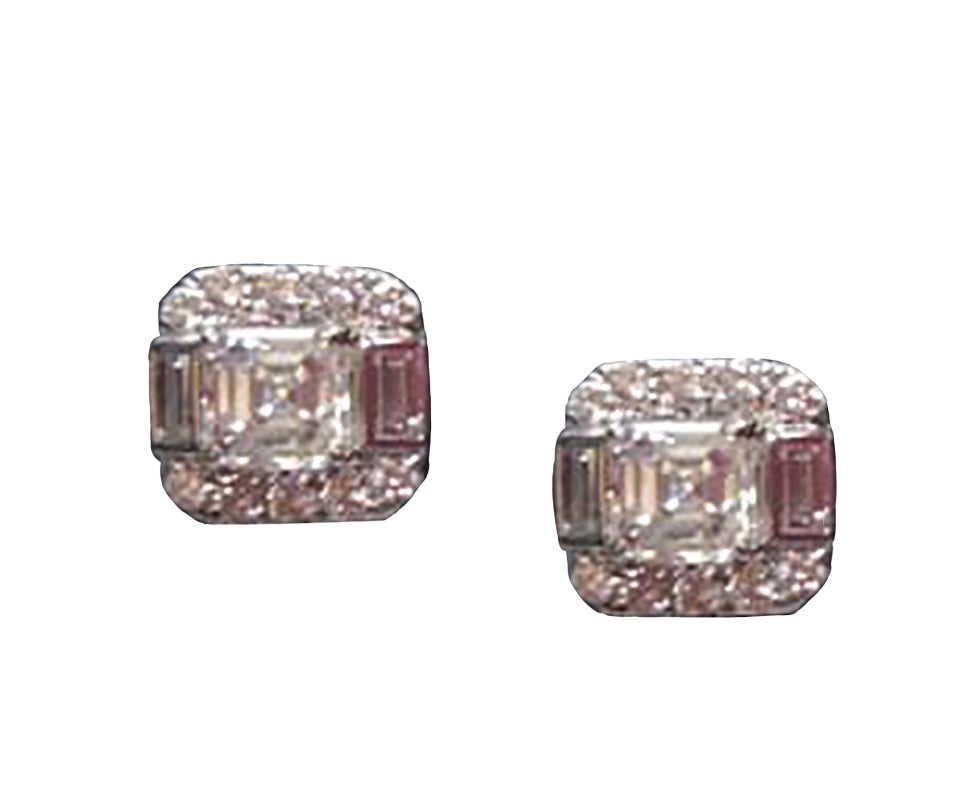 - Asscher Diamond Studs -