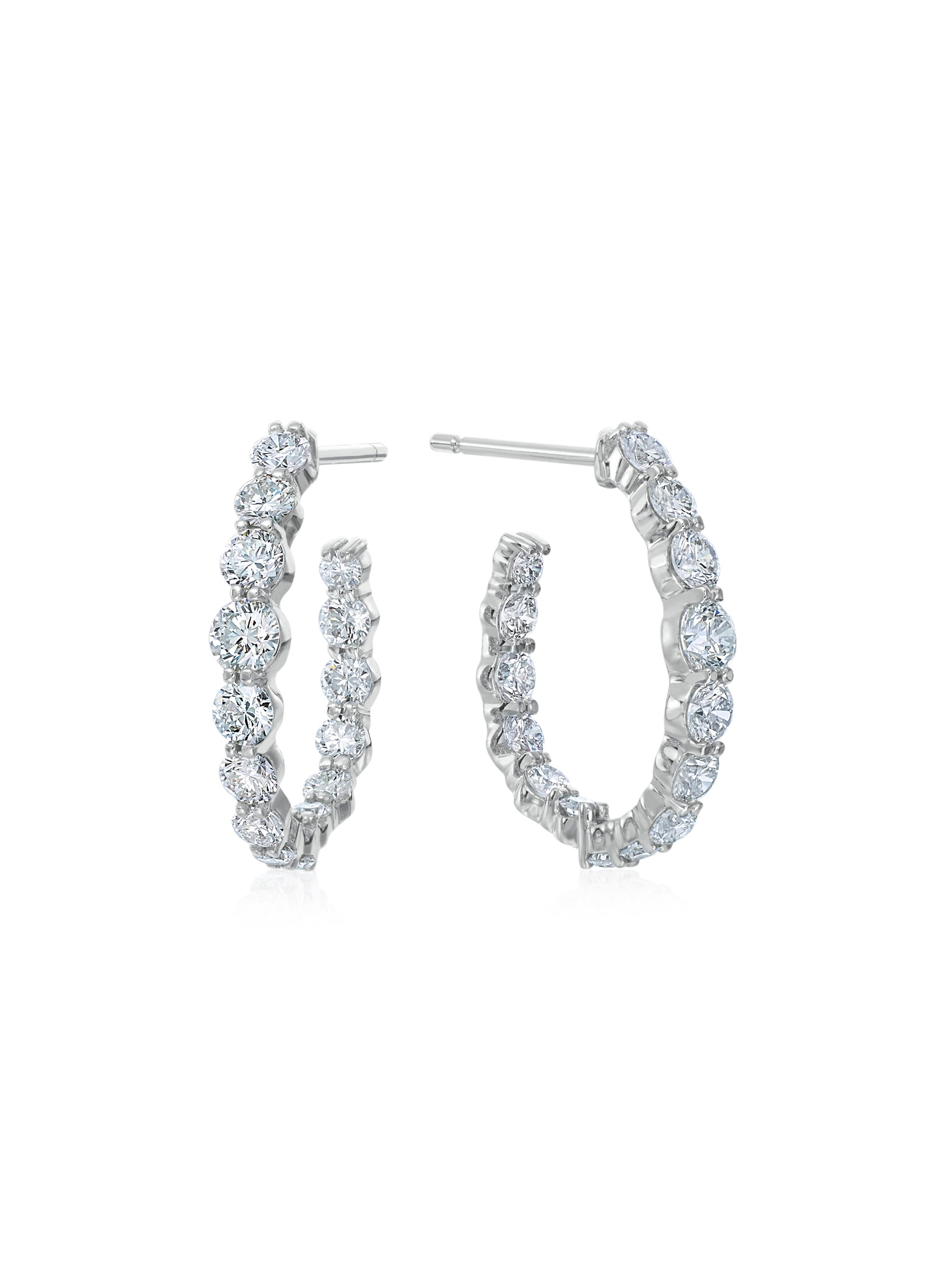 Water Drop Shaped Diamond Hoops 3/4""