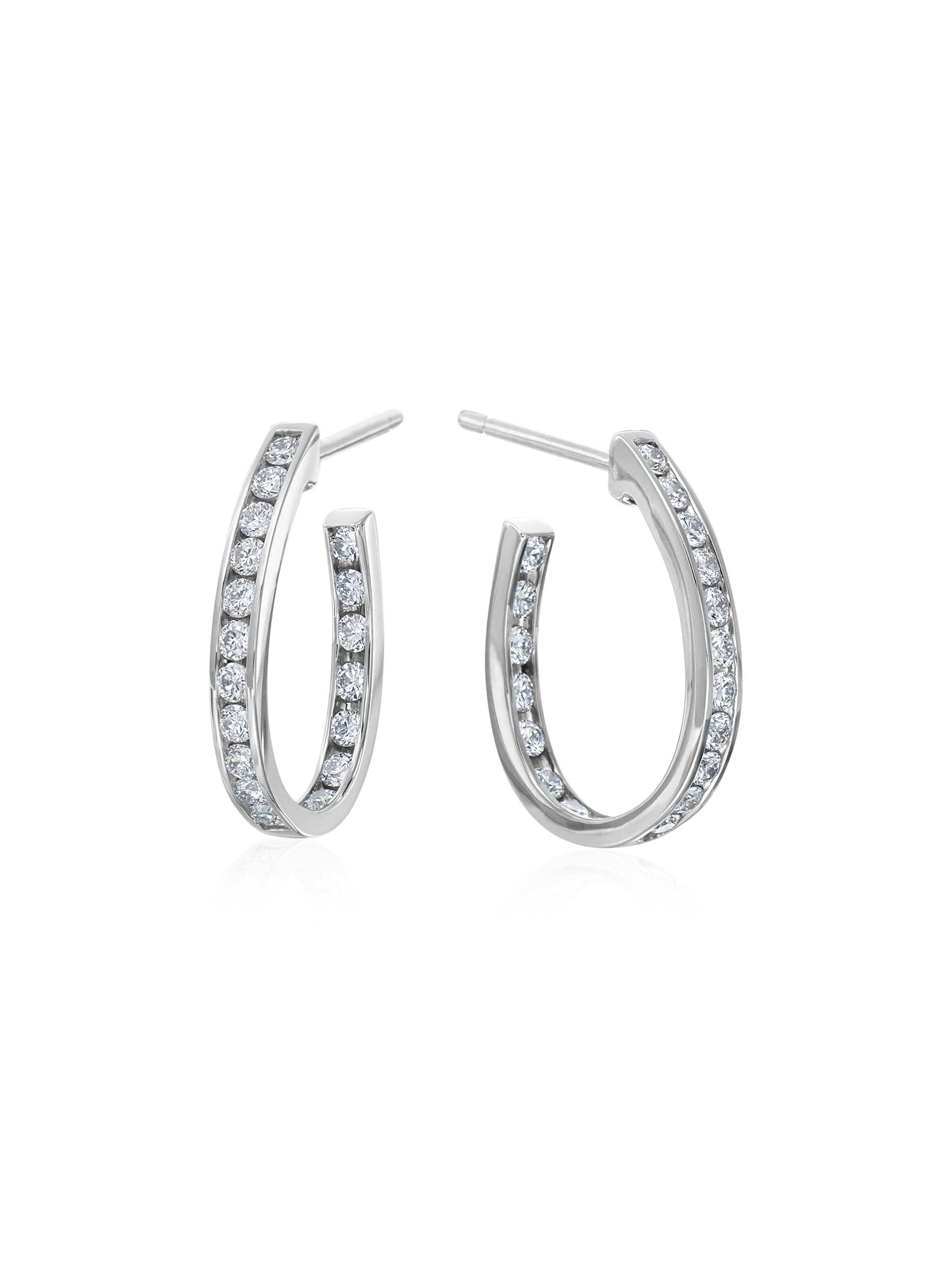 Channel Set Pear Shaped Diamond Hoops 1""