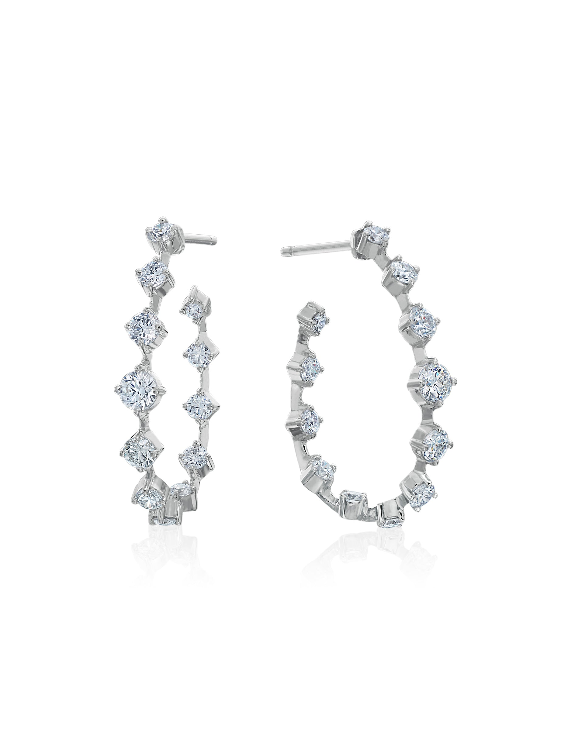 Oval Silhouette Diamond Wire Hoops 1""