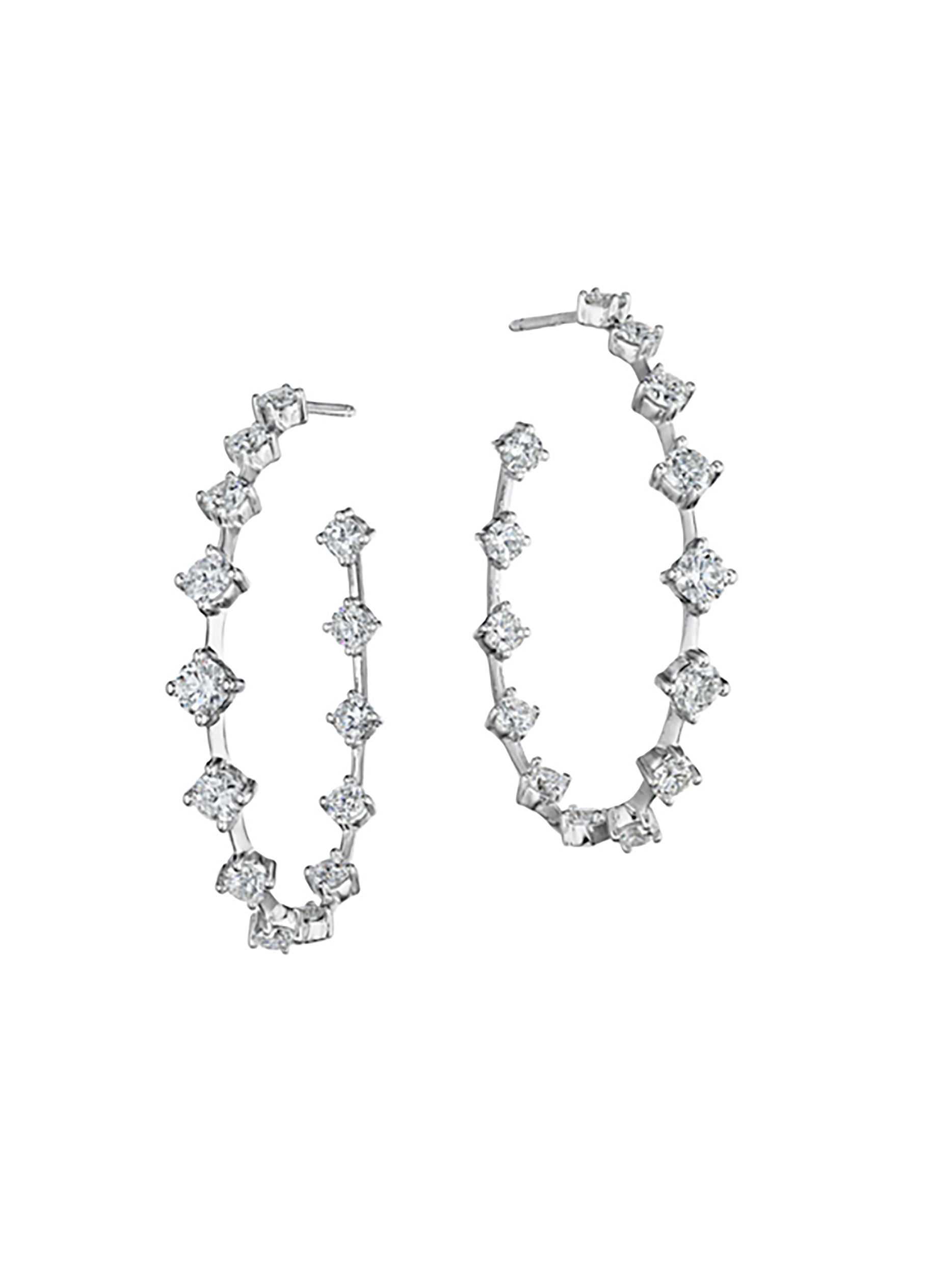 Oval Silhouette Diamond Wire Hoops 3/4""