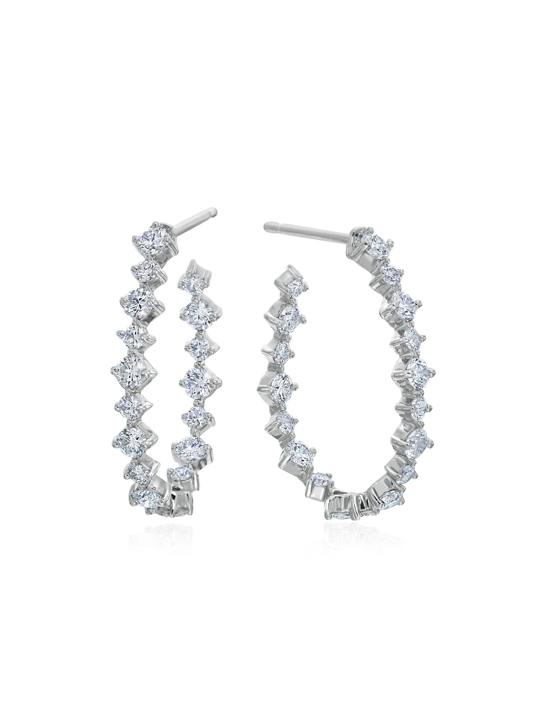 Pear Silhouette Diamond Wire Hoops 1""