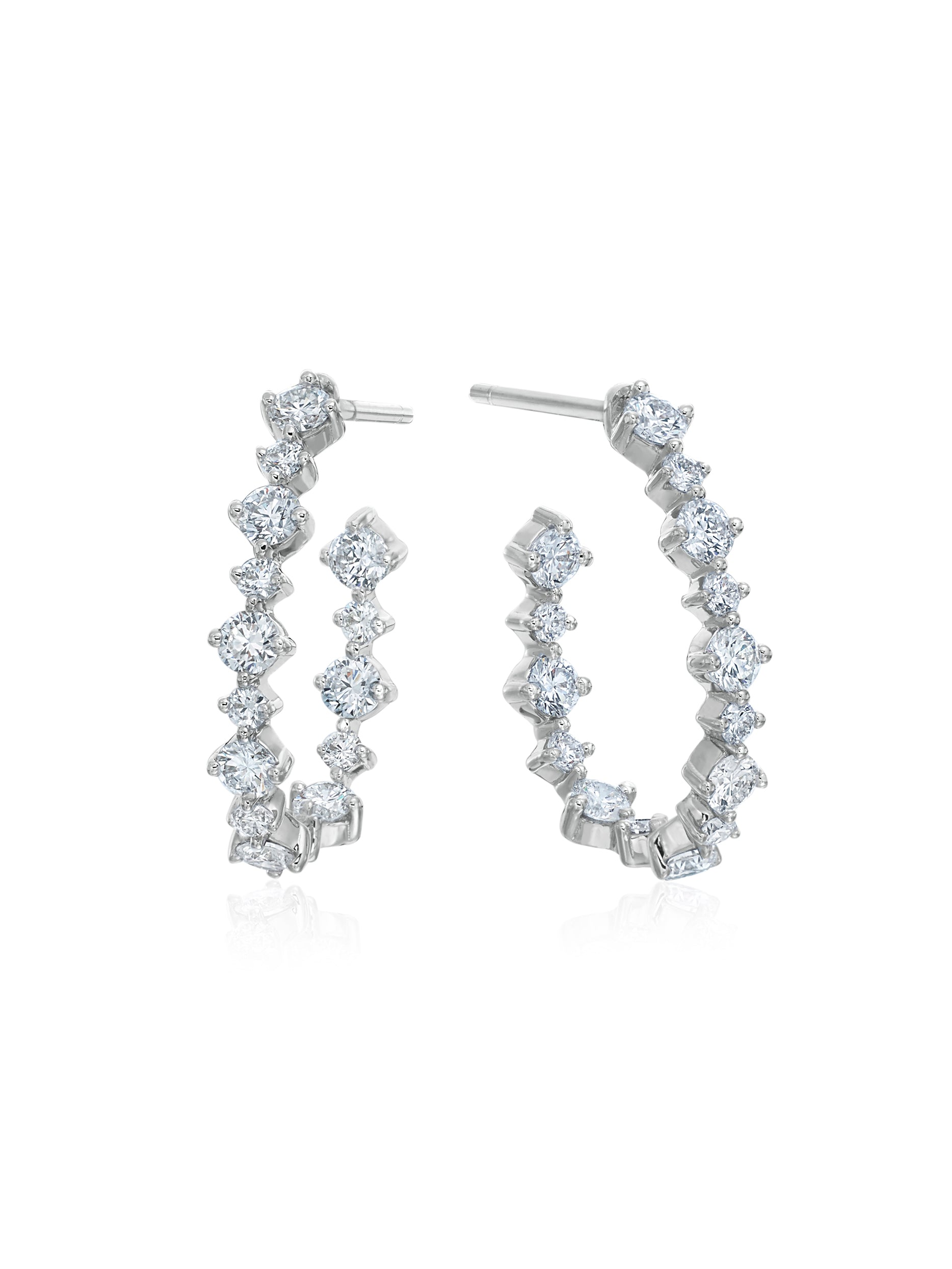 Pear Silhouette Diamond Wire Hoops 3/4""