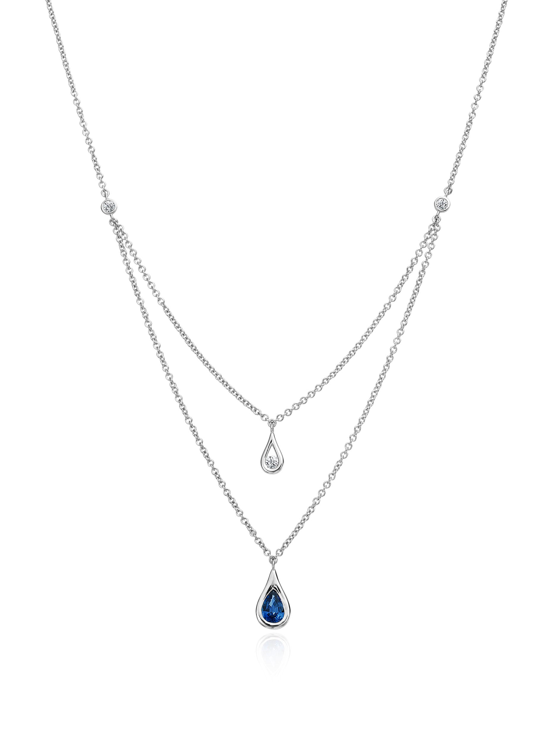 Double Layer Diamond and Sapphire Necklace