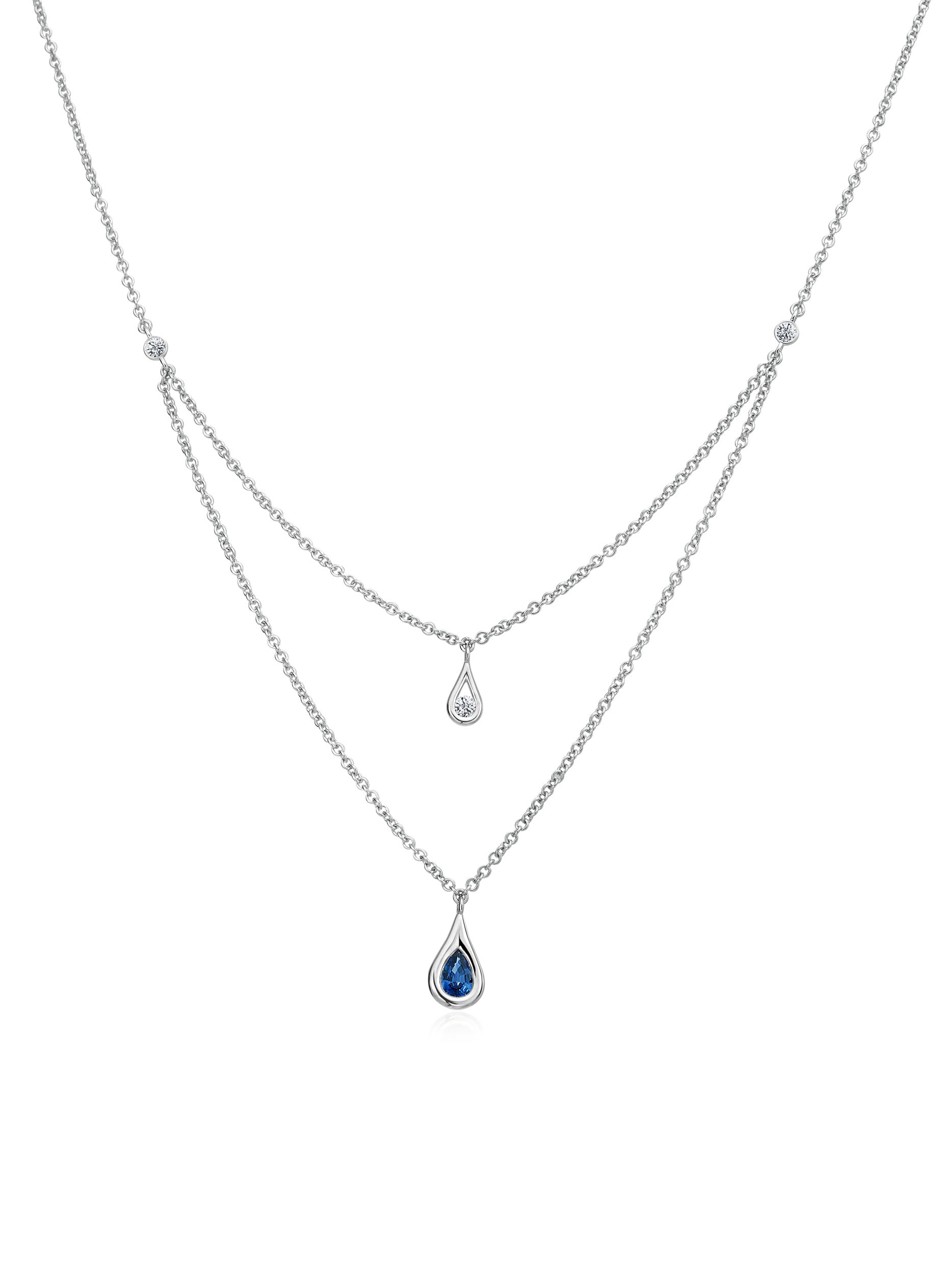 Petite Double Layer Diamond and Sapphire Necklace
