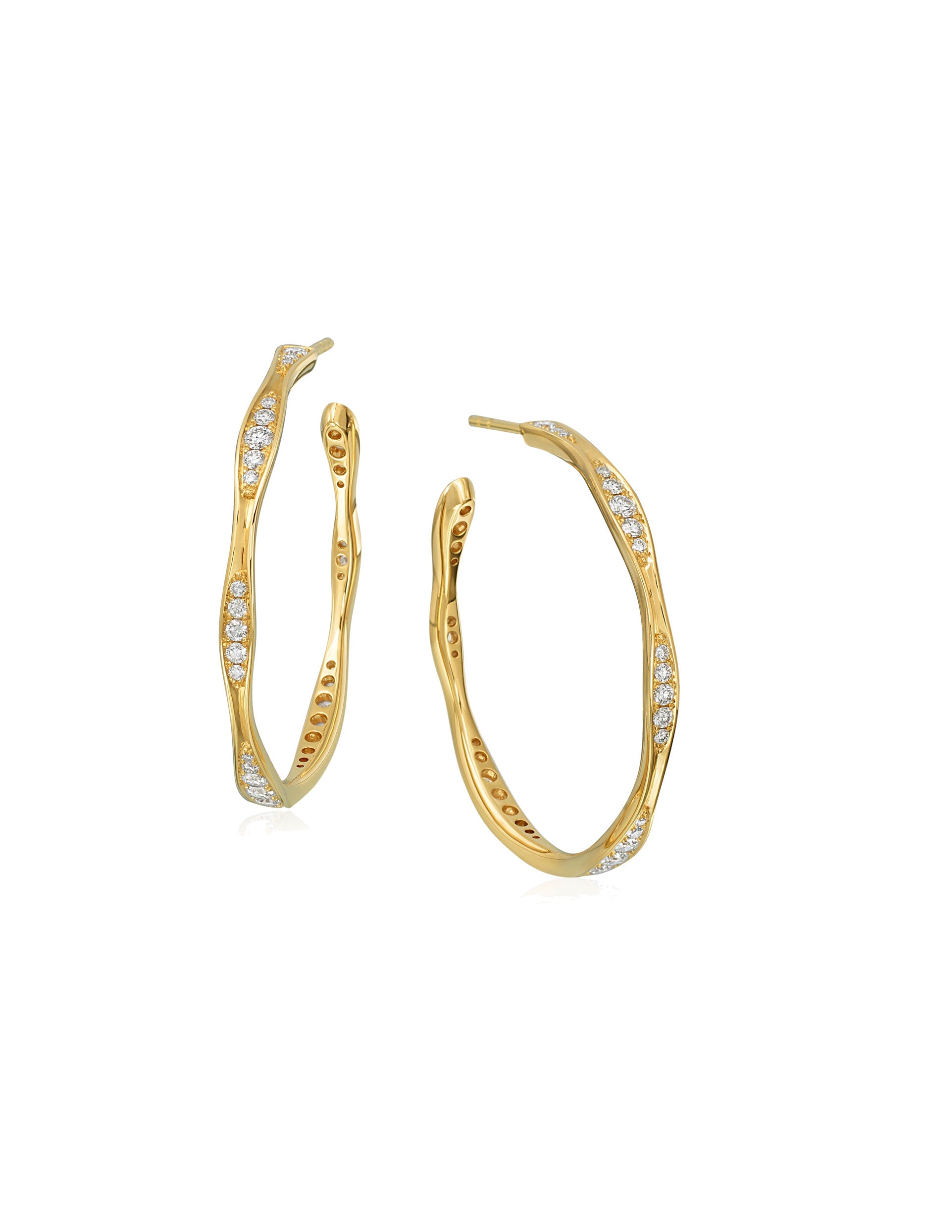 Medium Wave Diamond Hoop Earring