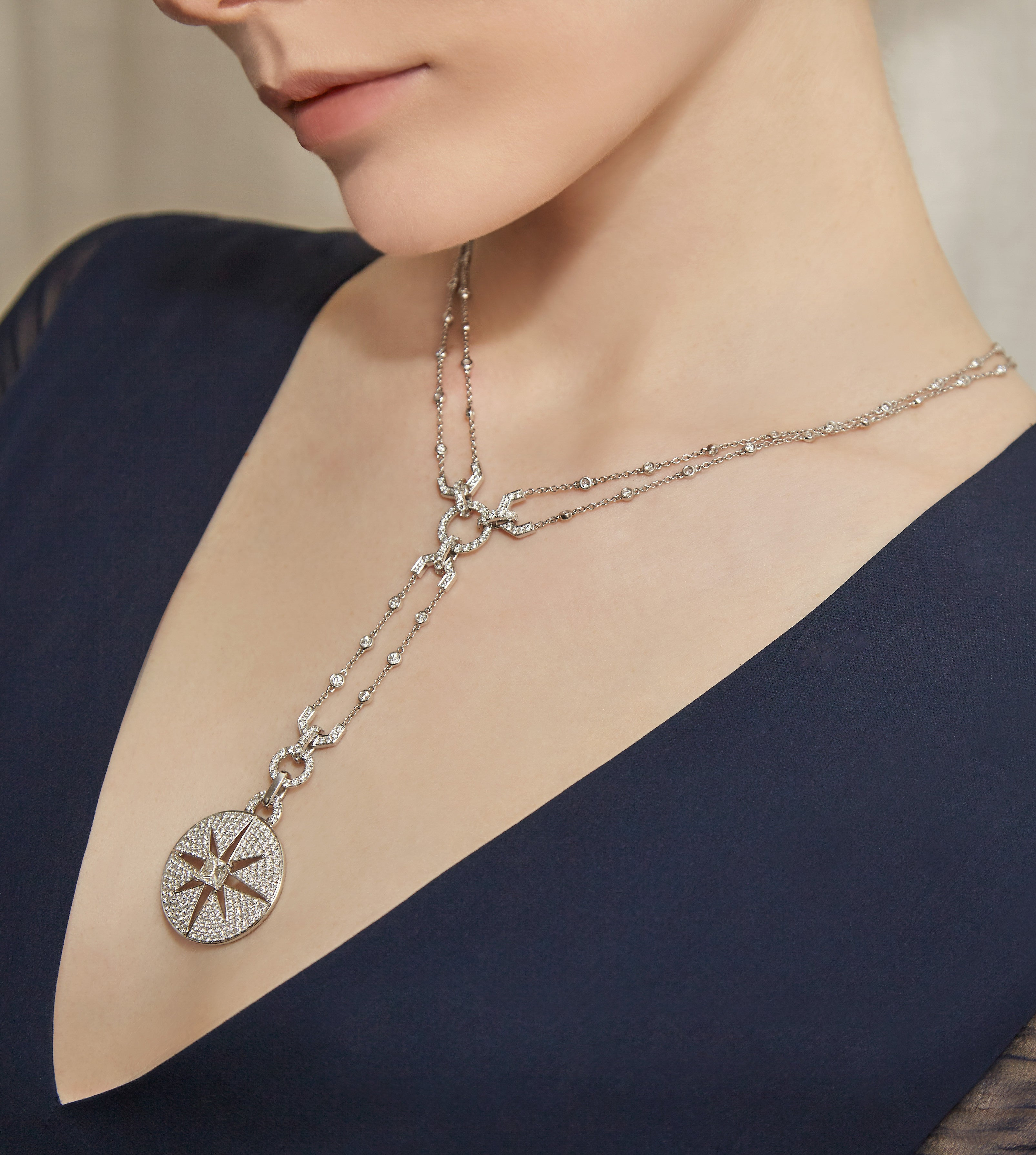 Starburst Medallion Diamond Drop Necklace
