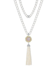 Aster Pearl Tassel Necklace
