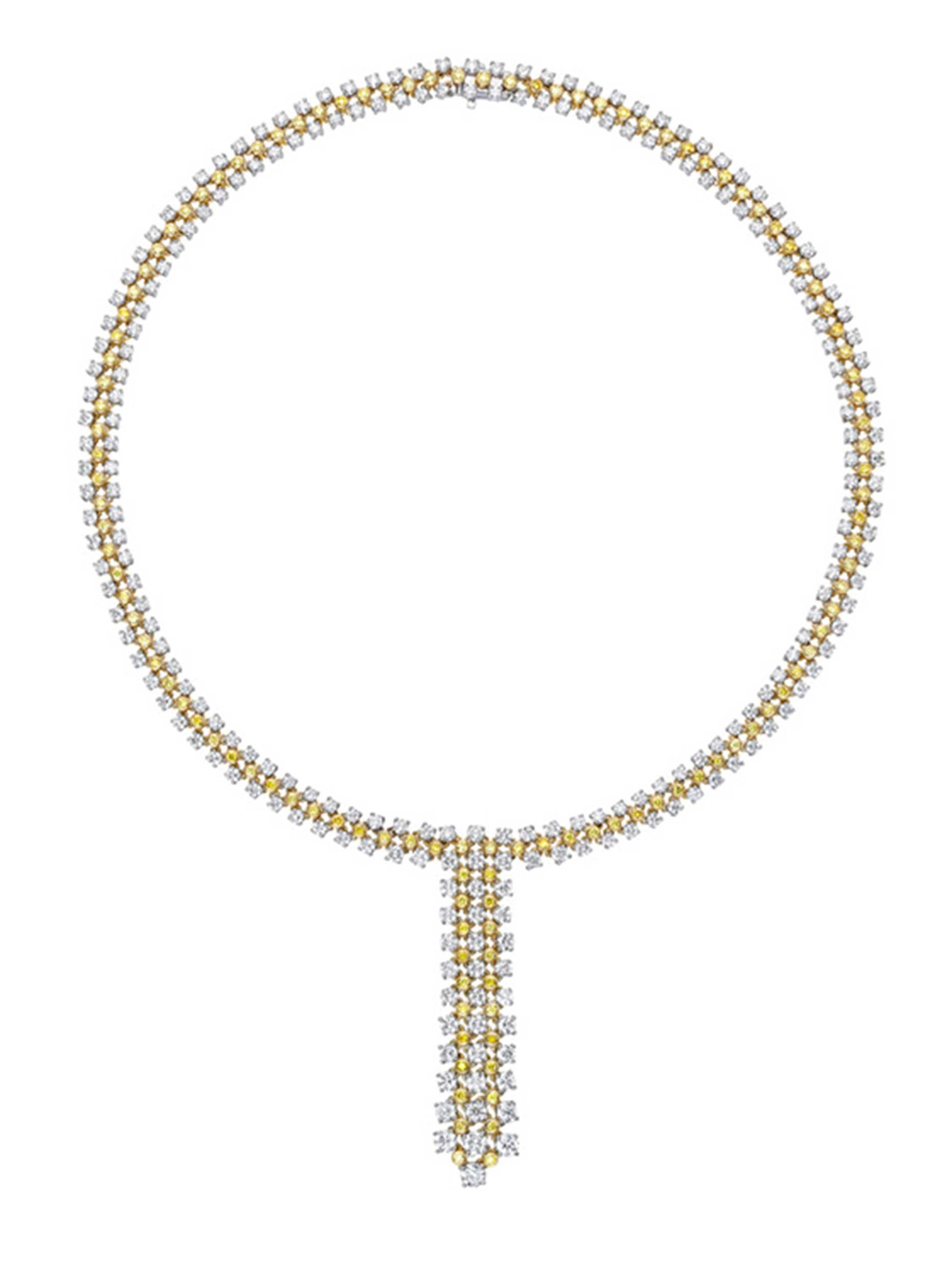 Jubilee White and Yellow dDamond Y Necklace