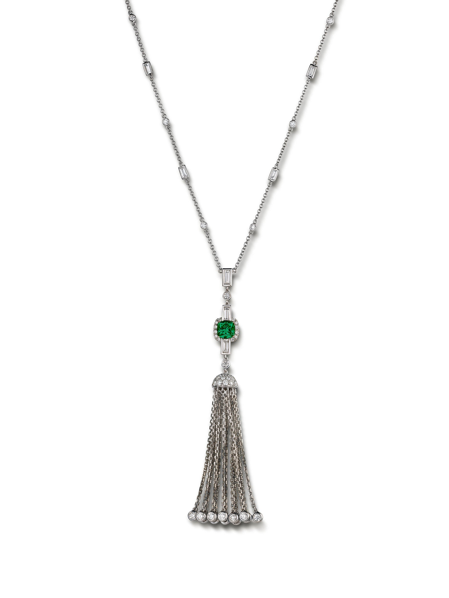 Deco Tassel Emerald Necklace