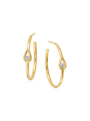 Drop Diamond Hoop Earrings