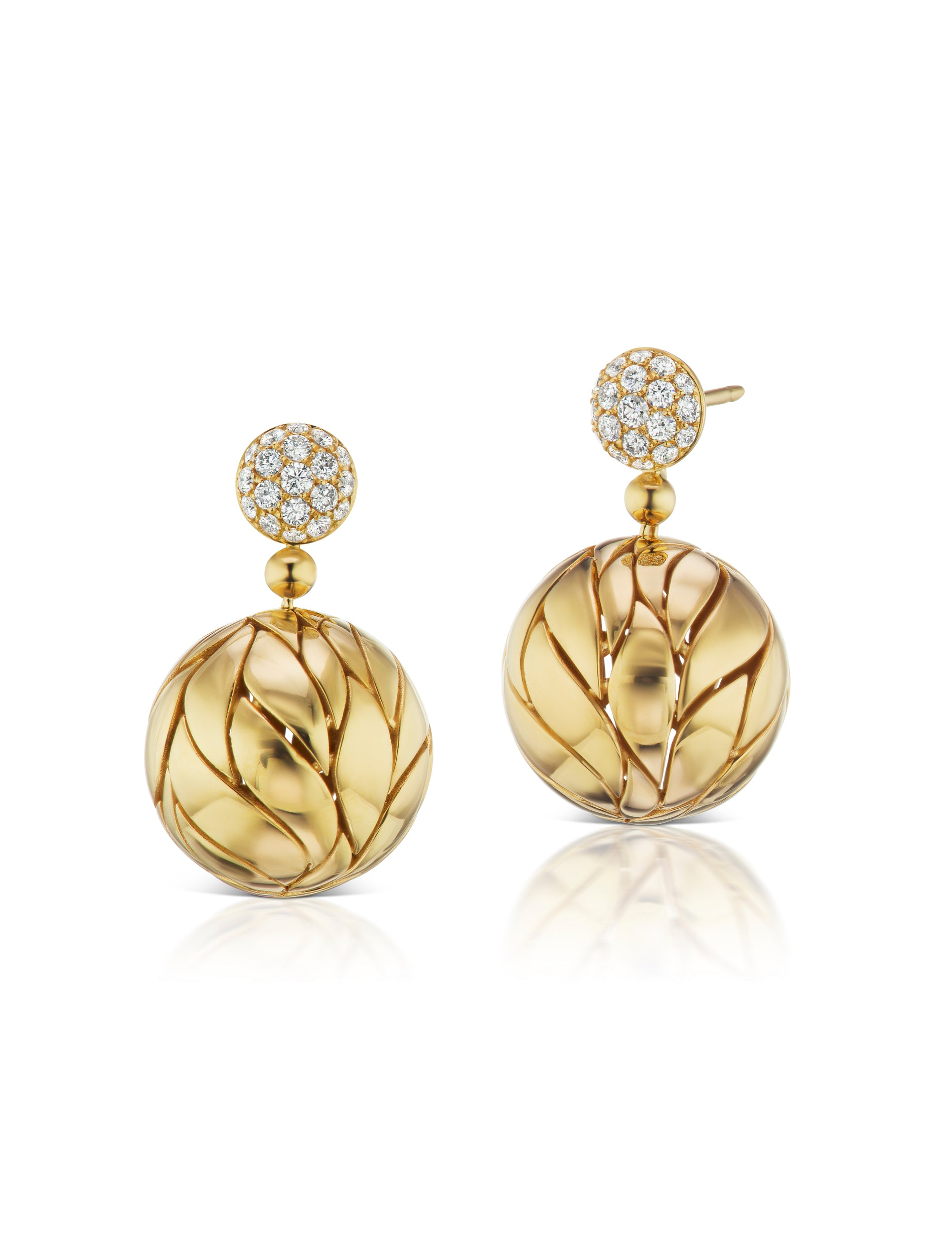 Petal Gold and Diamond Ball Drop Earrings