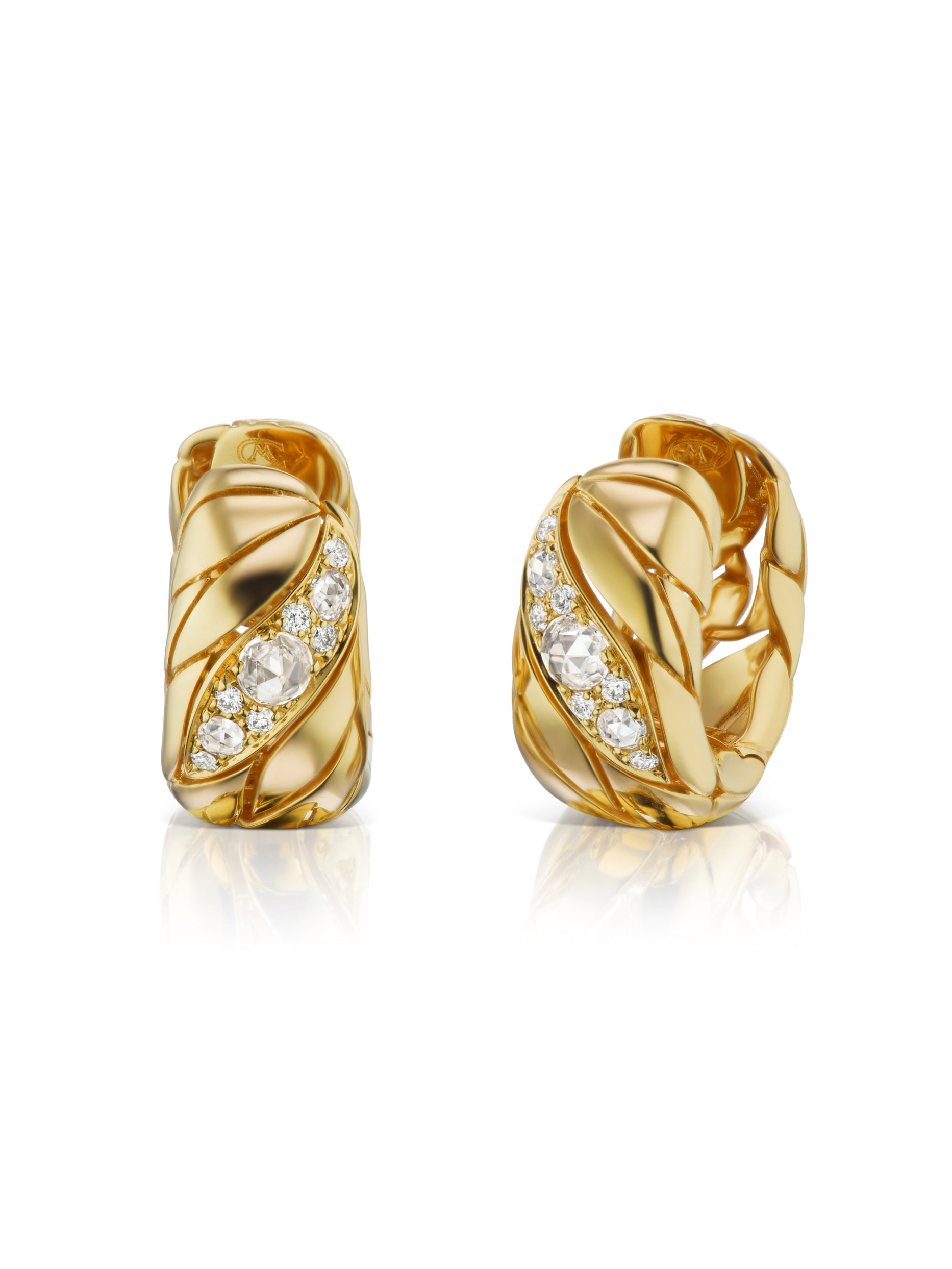 Petal Gold and Diamond Huggie Earrings