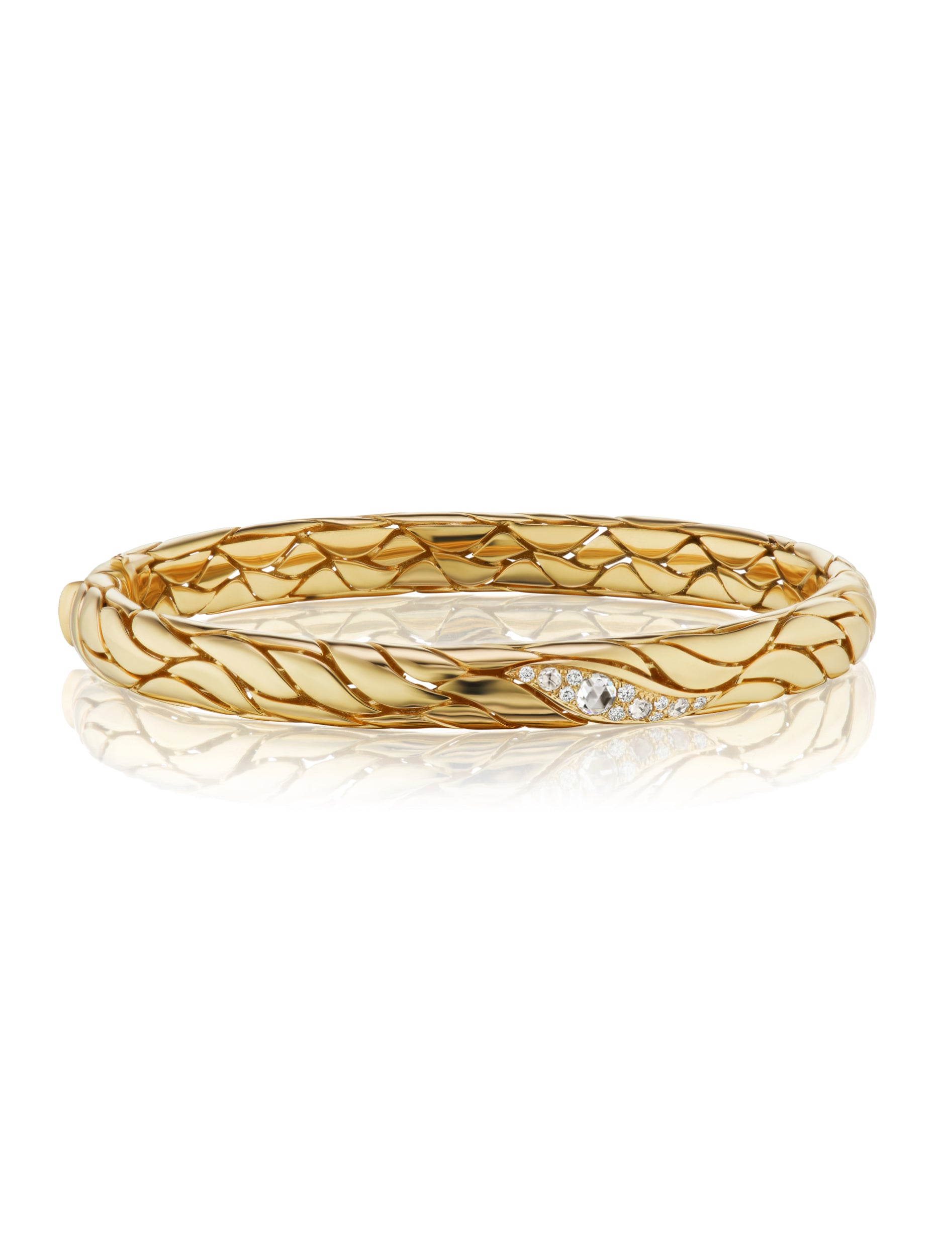 Petal Gold and Diamond Narrow Bangle
