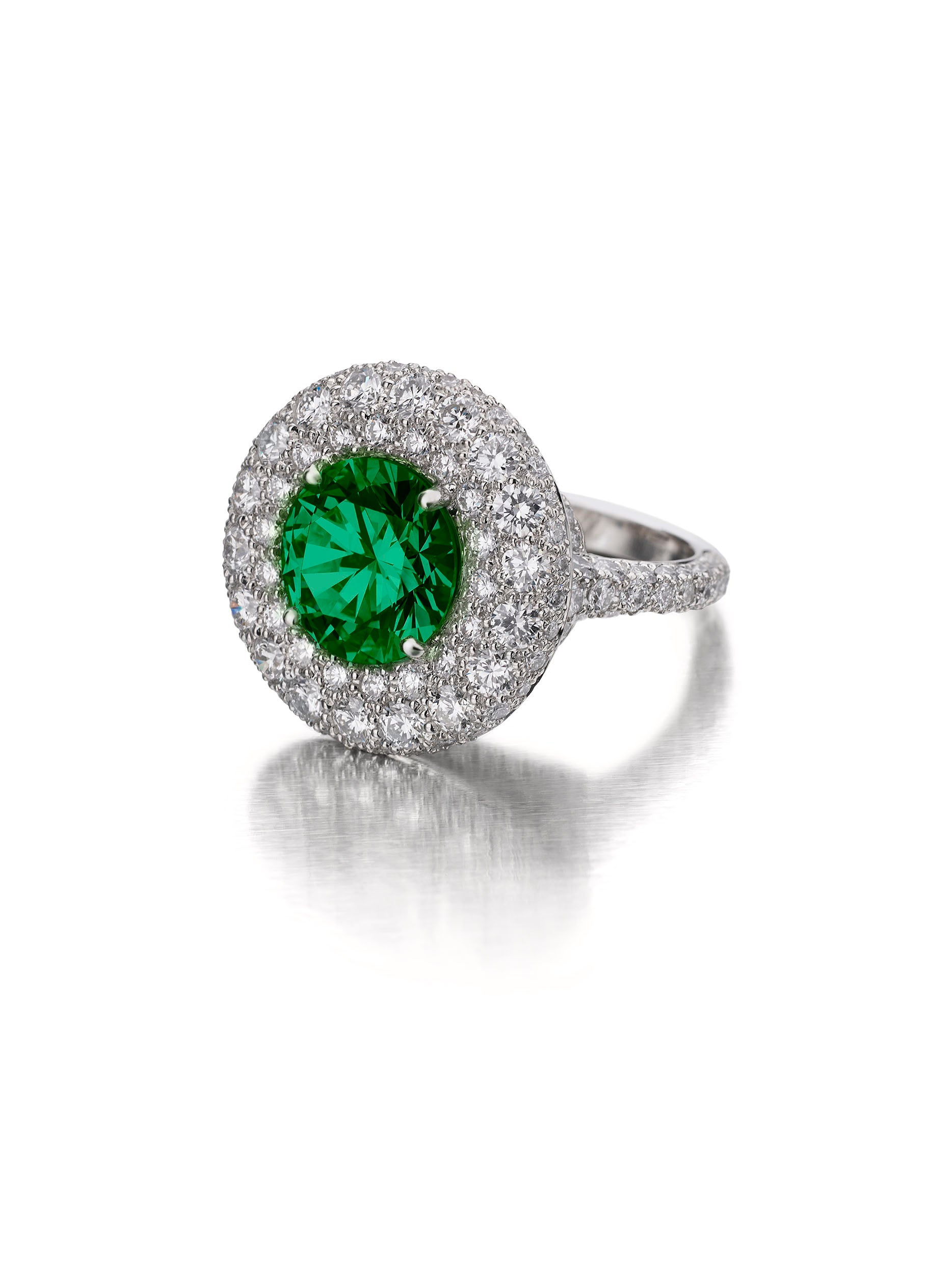 Luna Ring with Round Emerald