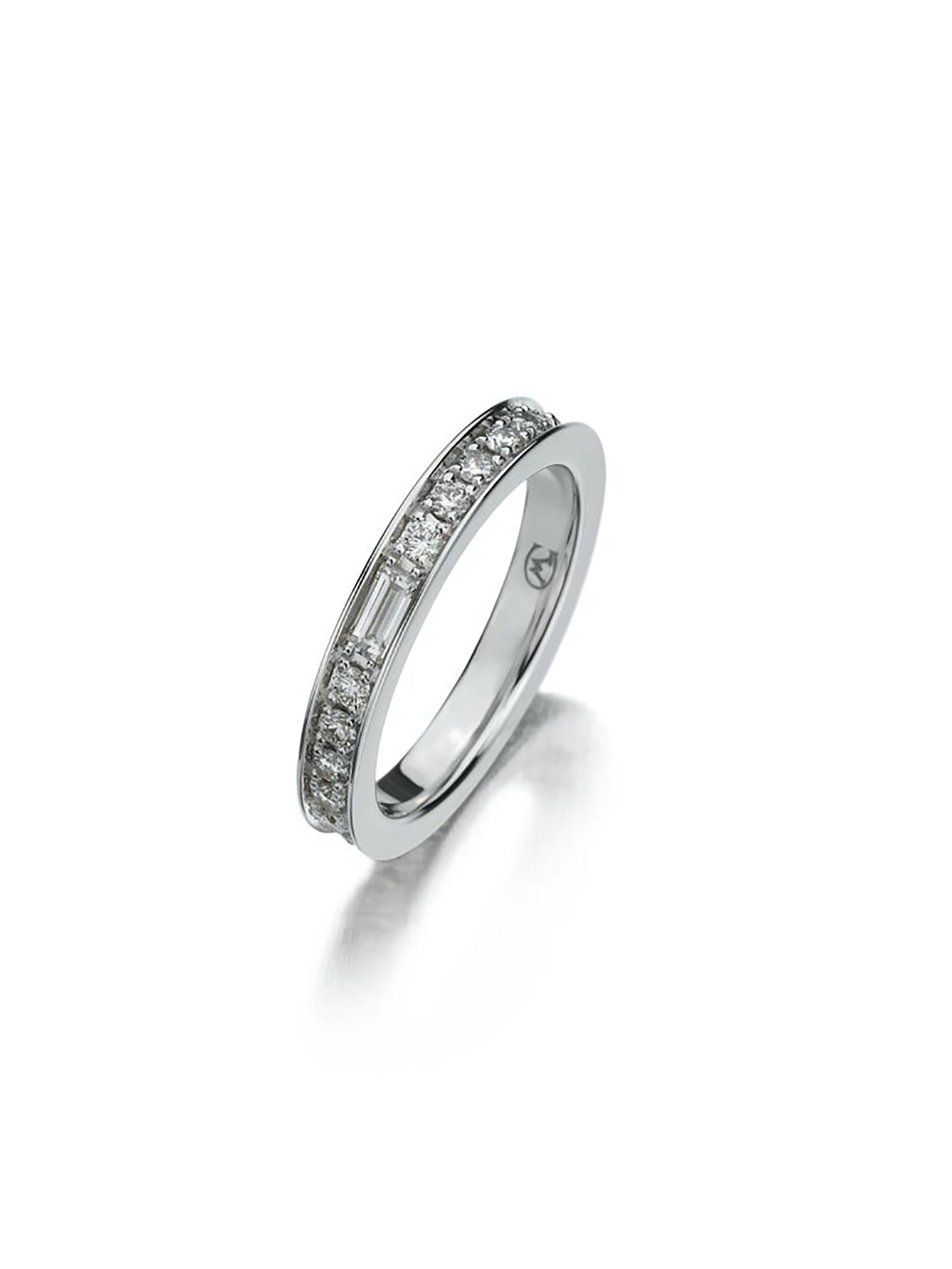 wedding product white diamond channel ring round set gold