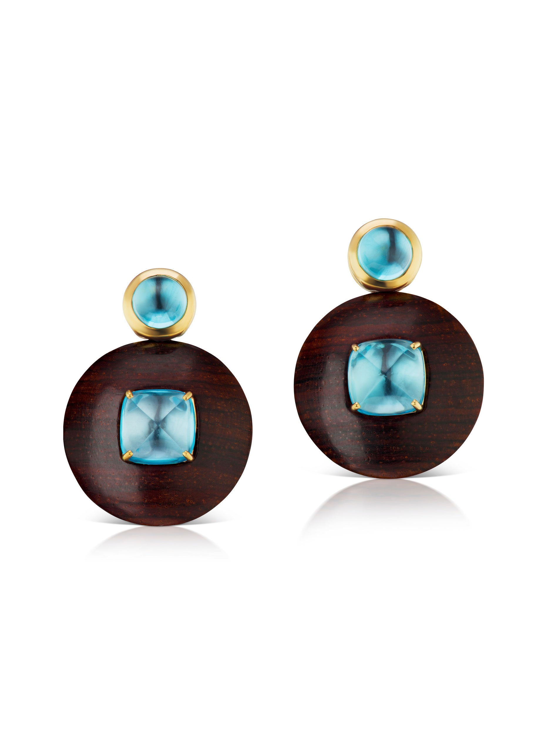 Voyager Blue Topaz Wood Disk Earring