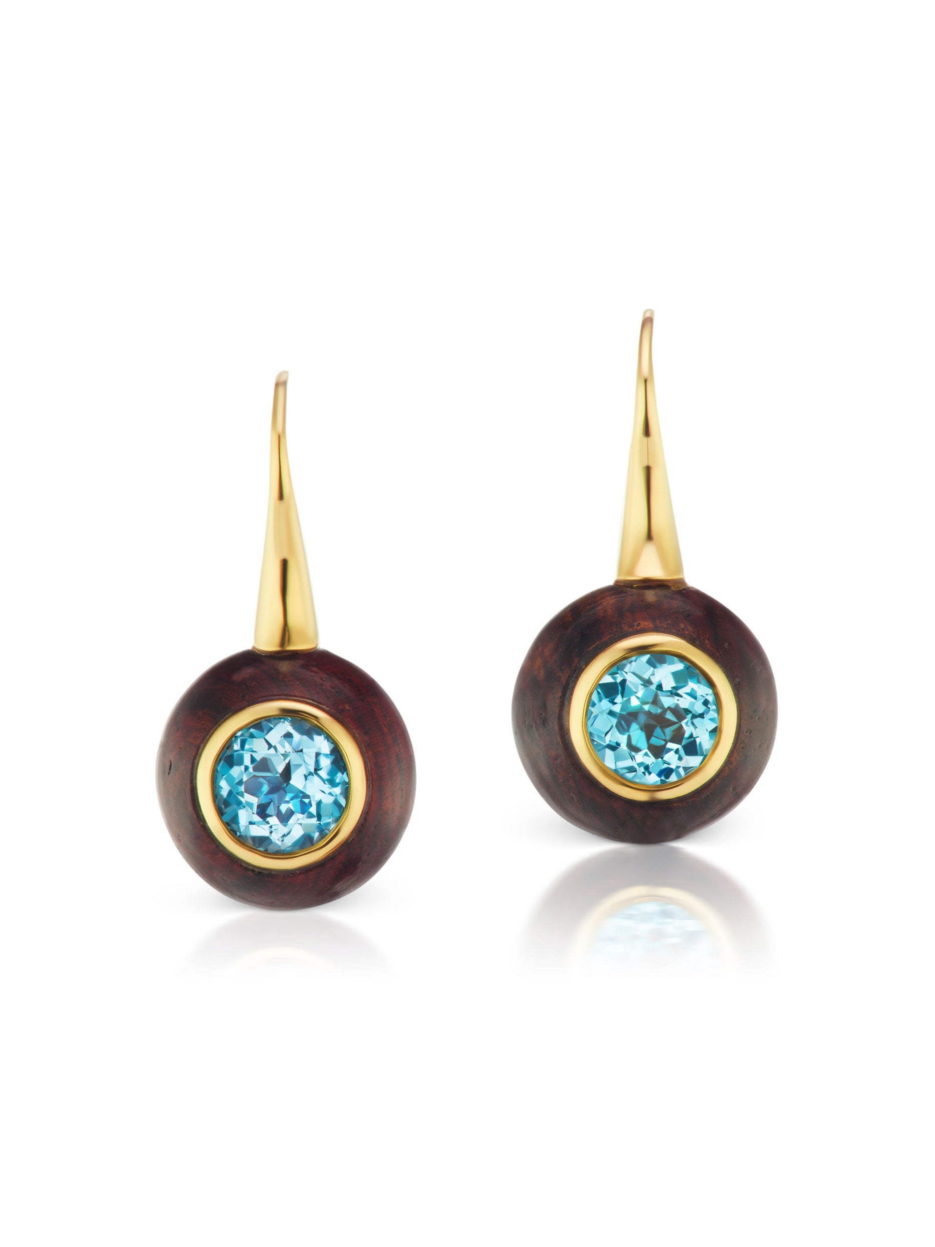 Voyager Blue Topaz Wood Wire Earring