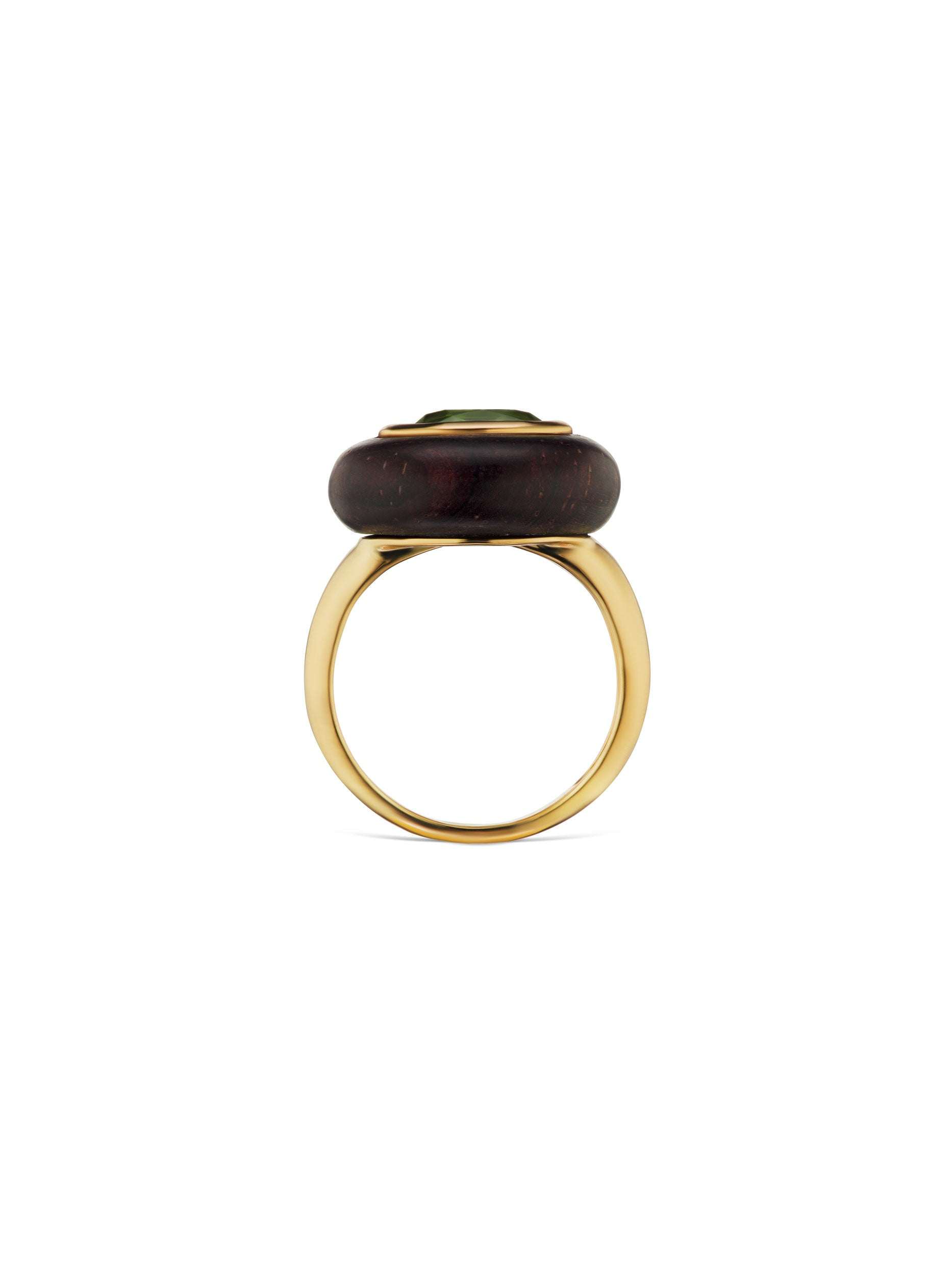 Voyager East-West Oval Green Tourmaline Wood Ring