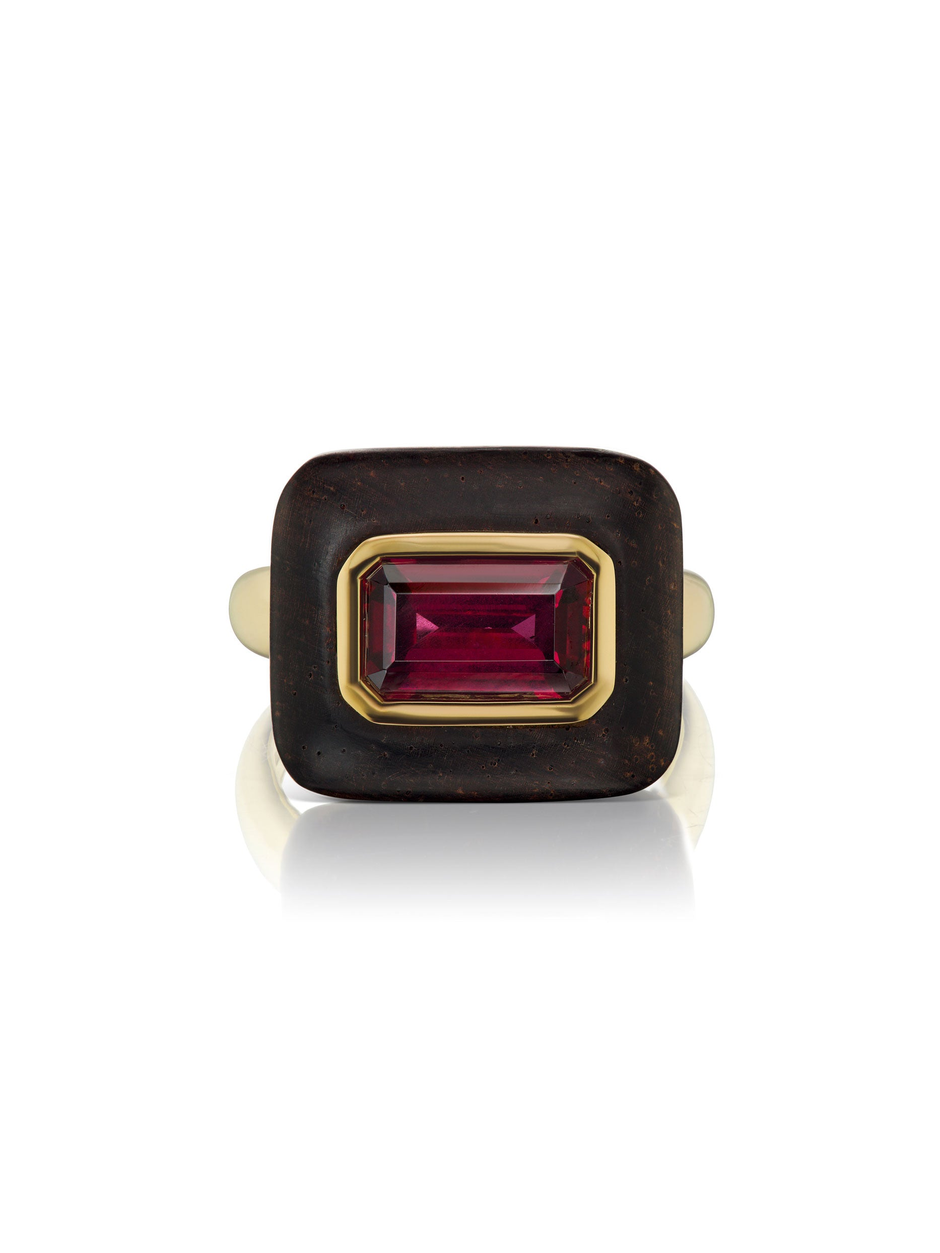 Voyager East-West Emerald Cut Rhodolite Wood Ring