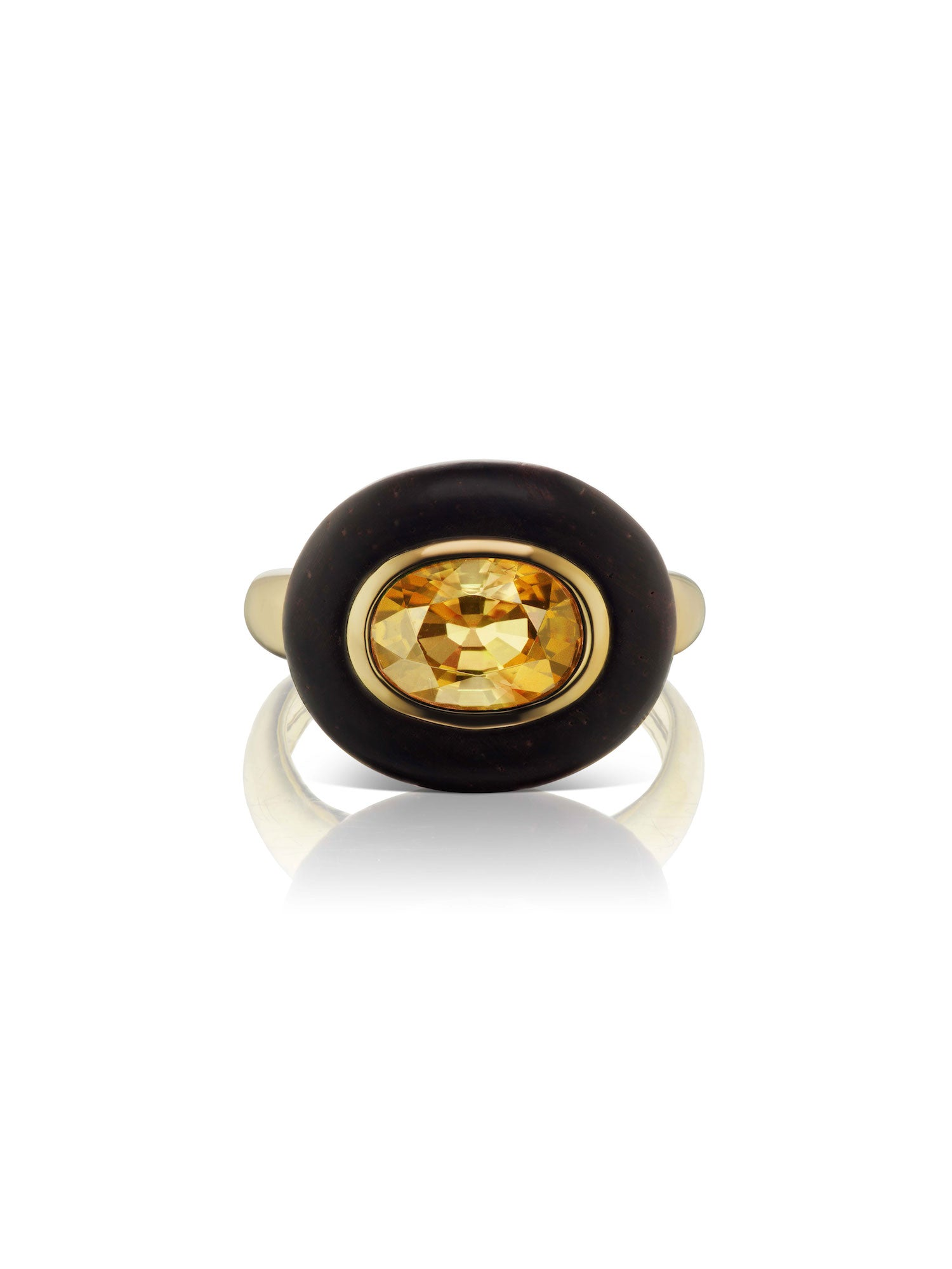Voyager East-West Oval Citrine Wood Ring