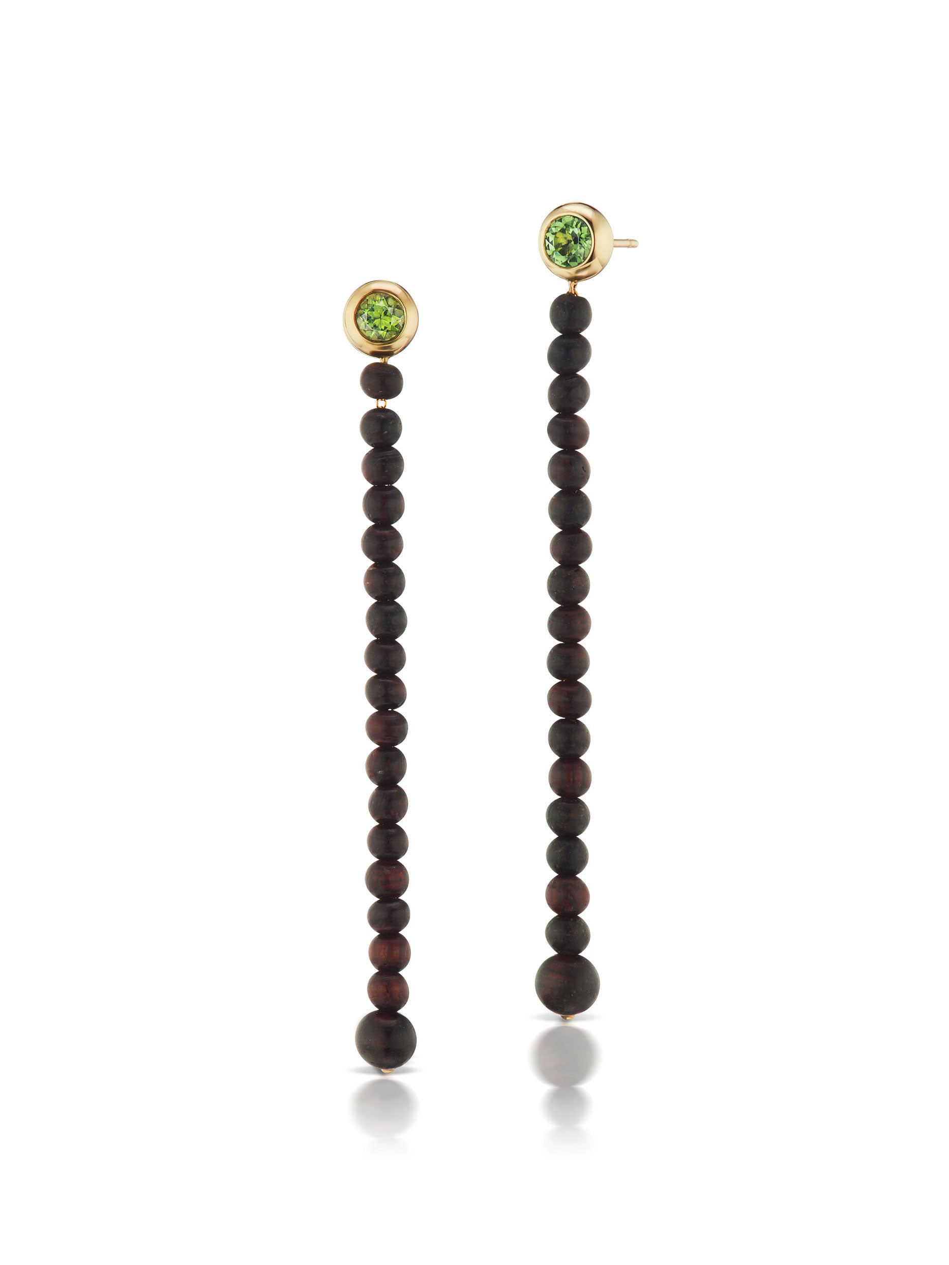 Voyager Green Tourmaline Wood Drop Earrings