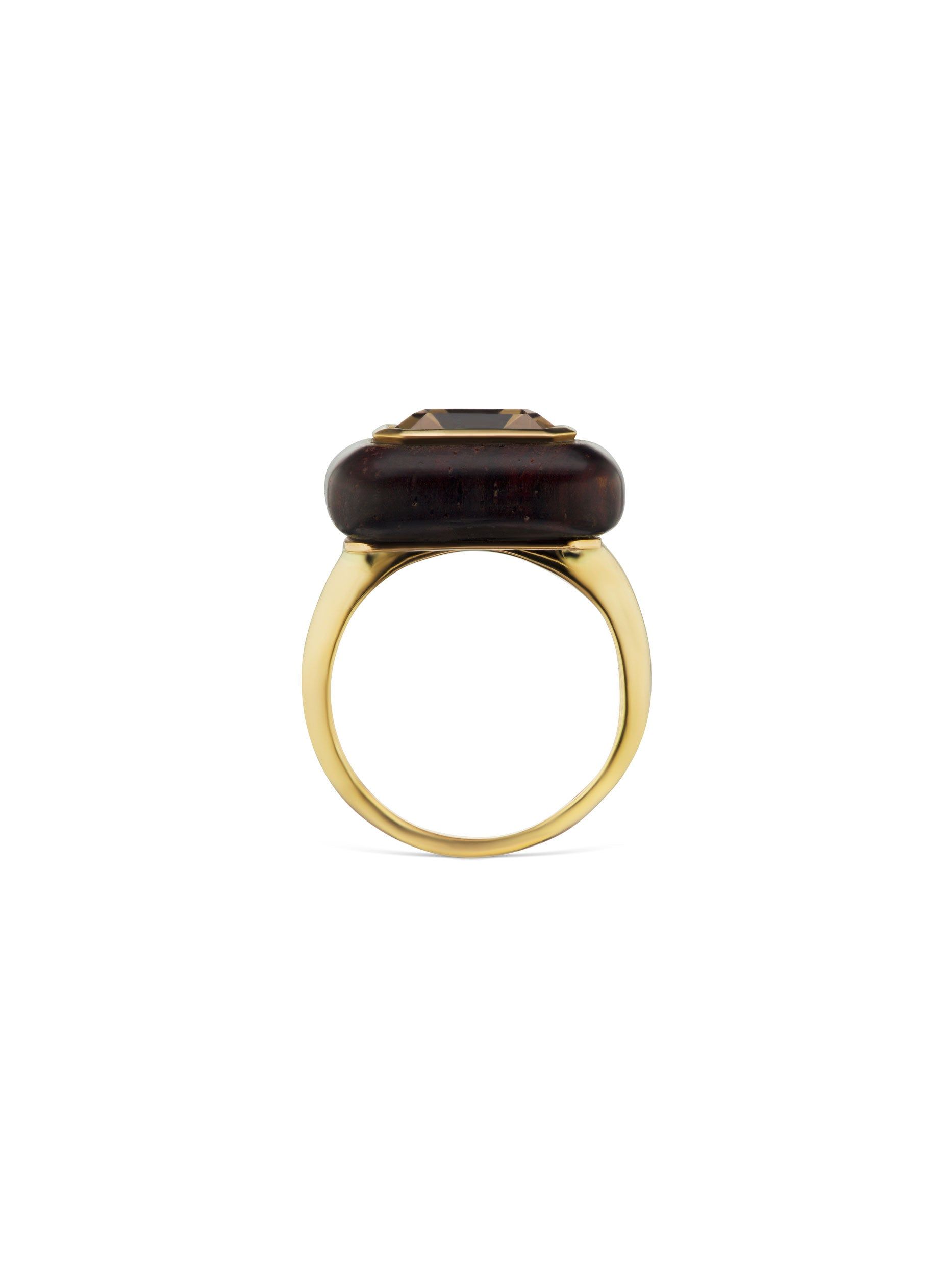 Voyager North-South Emerald Cut Smokey Topaz Wood Ring
