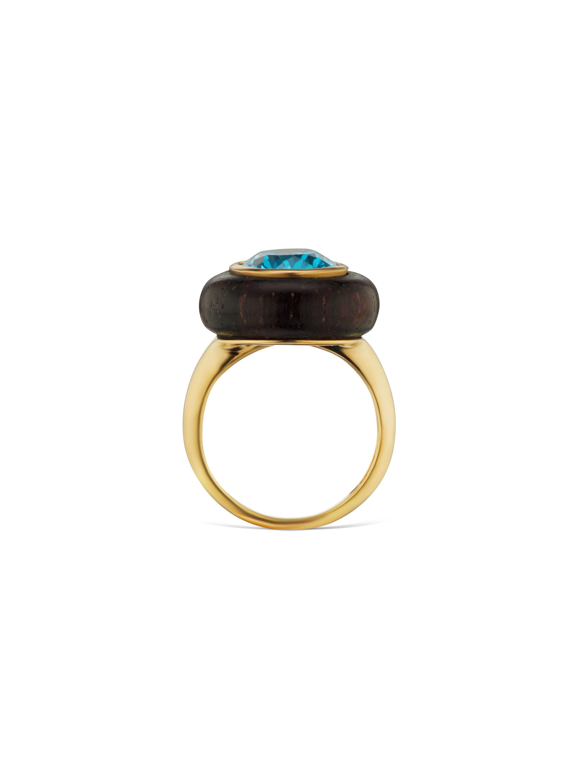 Voyager North-South Oval Blue Topaz Wood Ring
