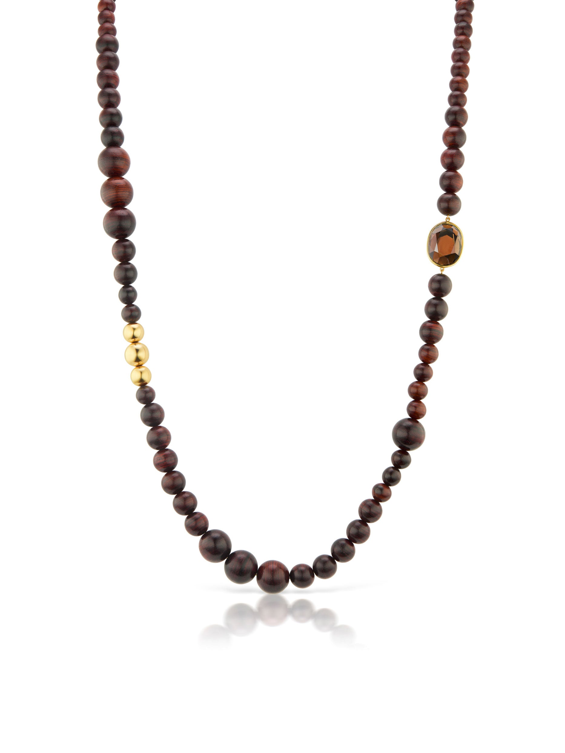 Voyager Wood Bead Necklace with Smokey Topaz