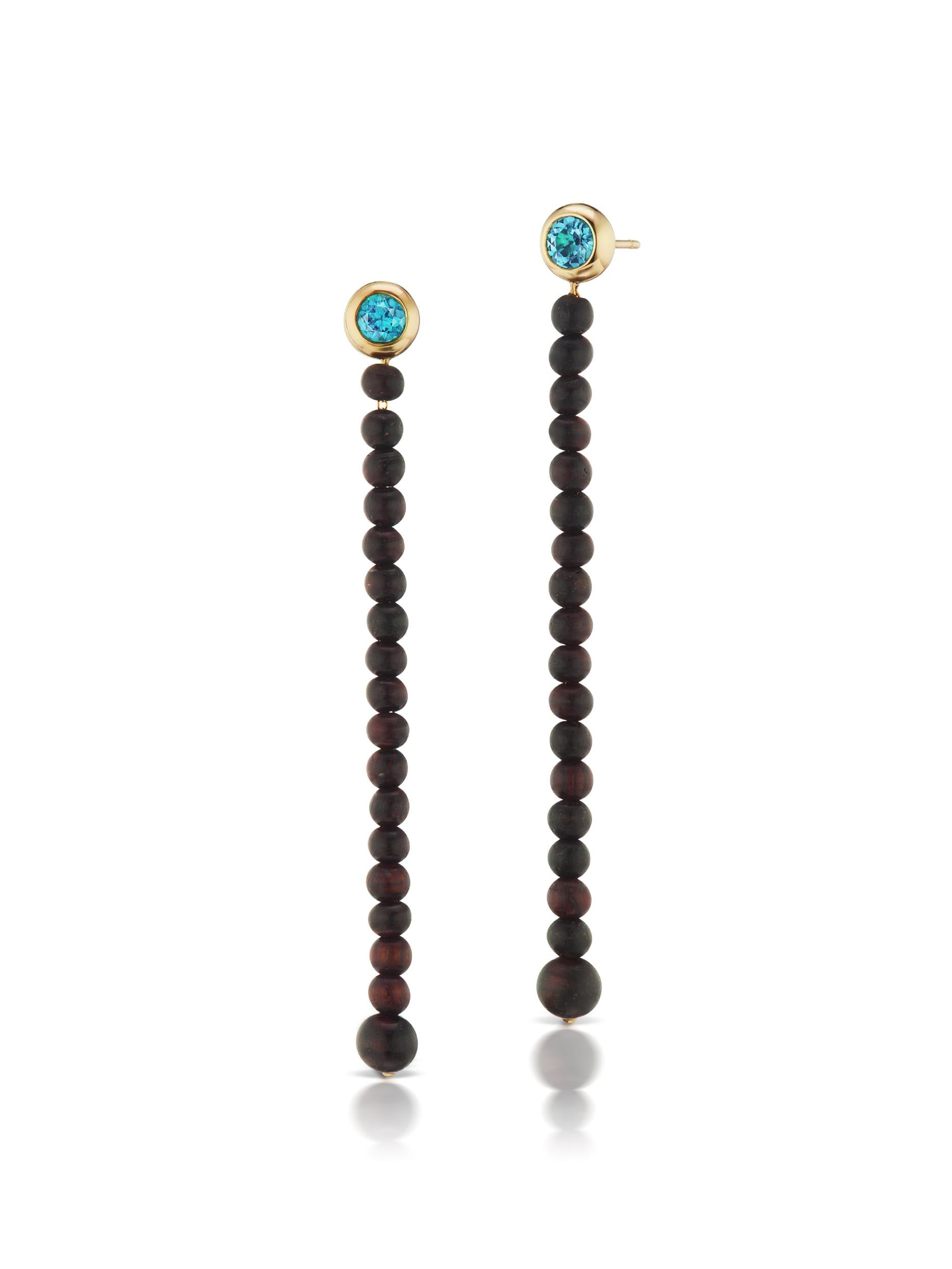 Voyager Blue Topaz Wood Drop Earrings