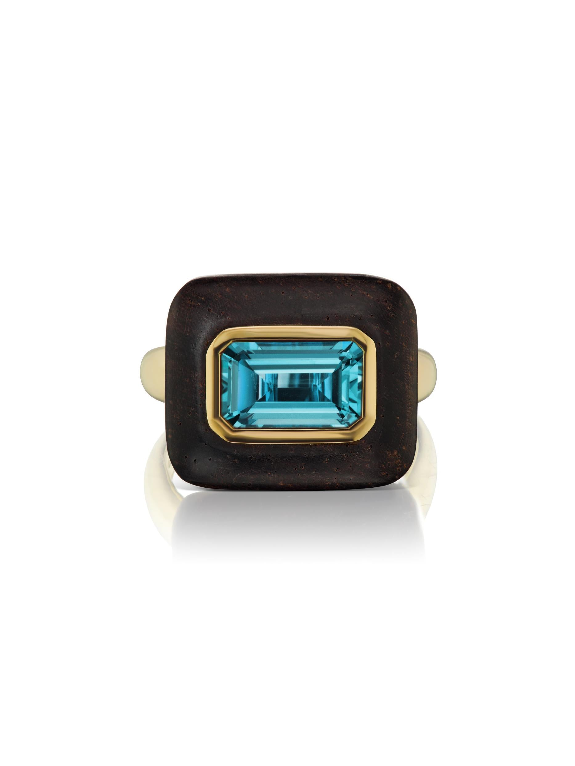 Voyager East-West Emerald Cut Blue Topaz Wood Ring